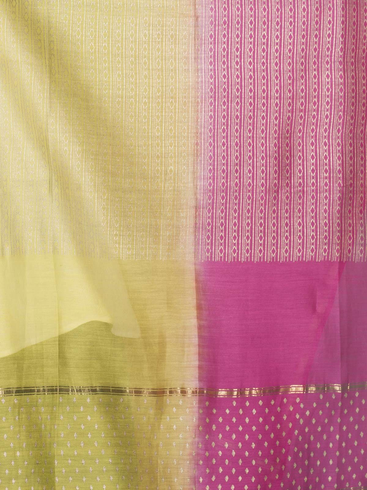 Pink and Green Chanderi Gold Block Print Dupatta