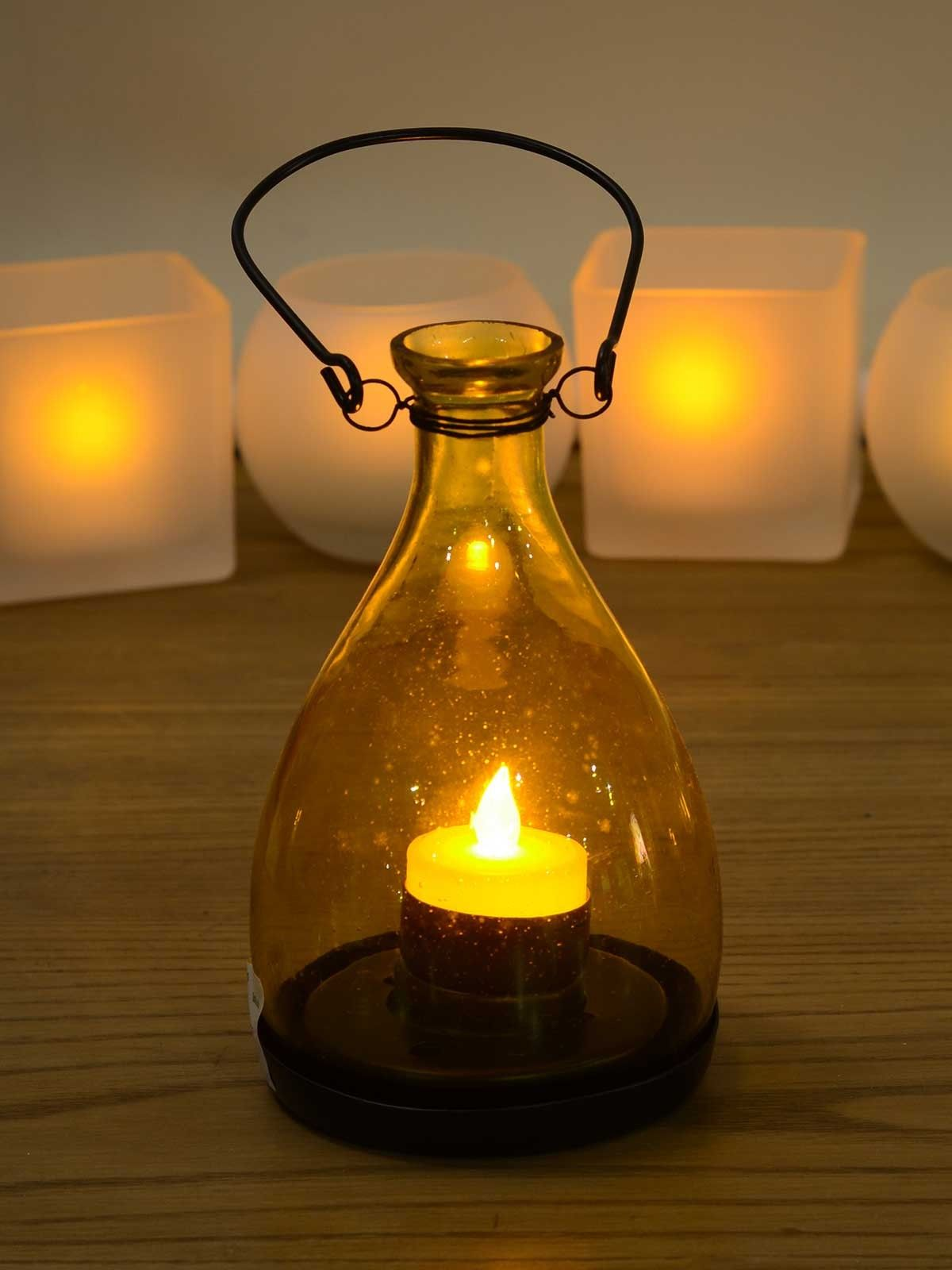 Yellow Amber Glass Vintage Lantern - 3 x 4 Inches