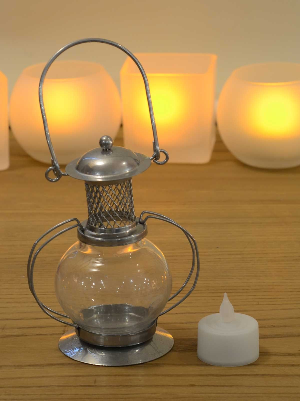 Silver Amber Glass Vintage Lantern (with flameless tea-light candle) - 2 x 4 Inches