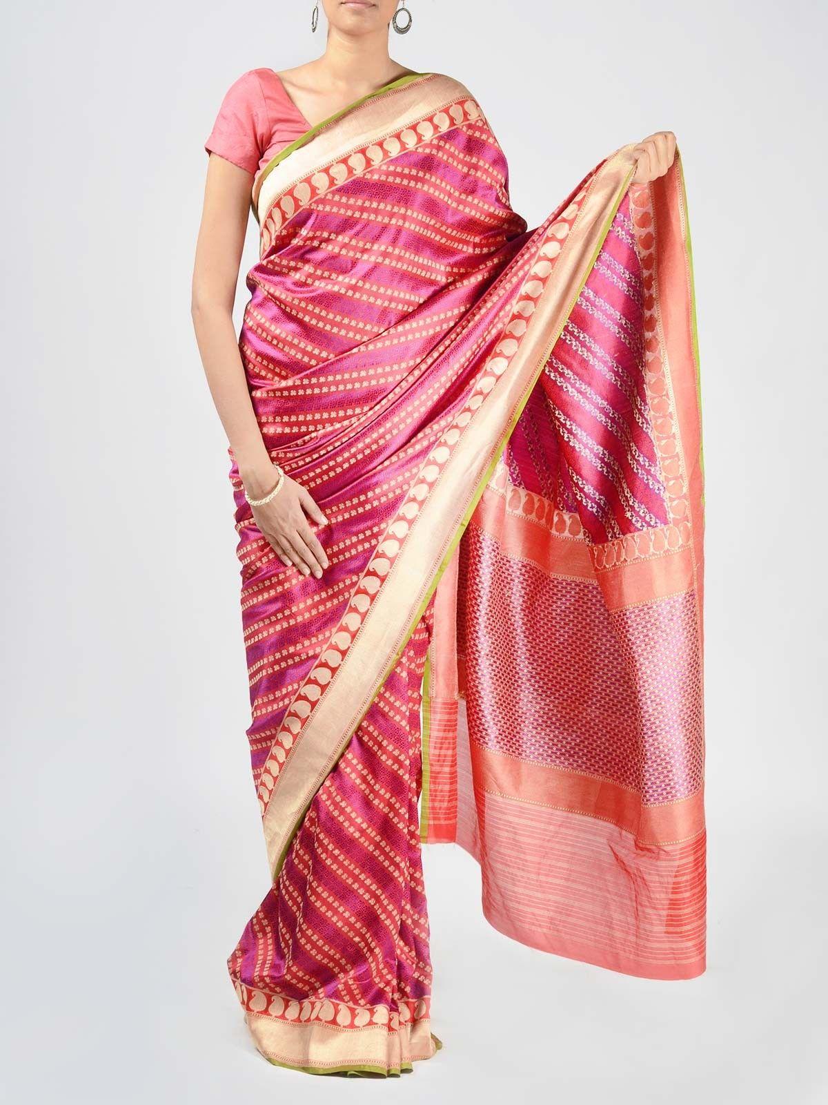 Pink Banarasi Saree with Zari Work