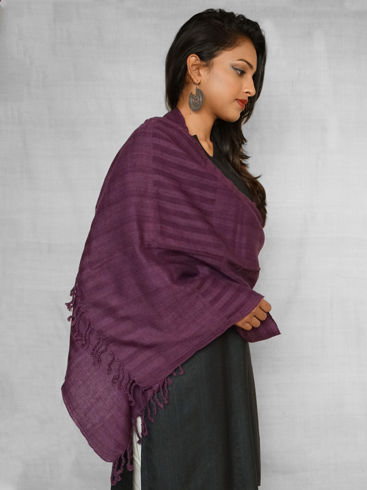 Pale purple stole  with stripes in self colour