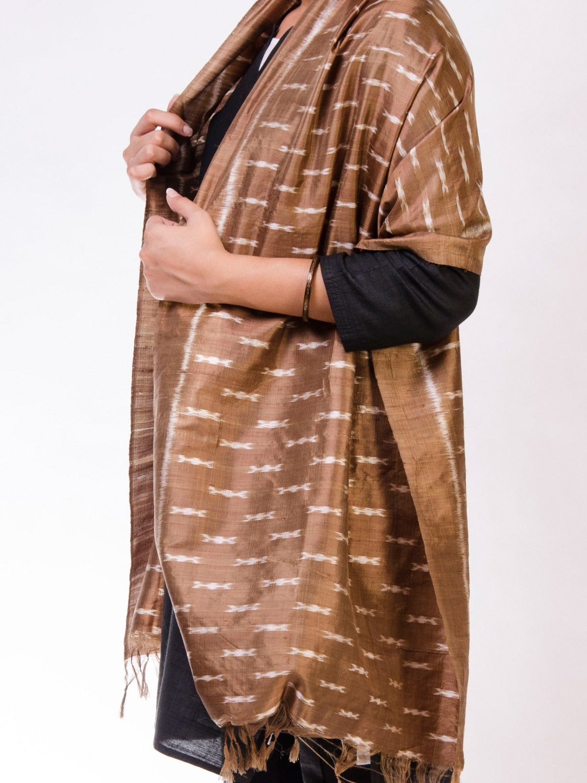 Copper Brown Silk Ikat Stole