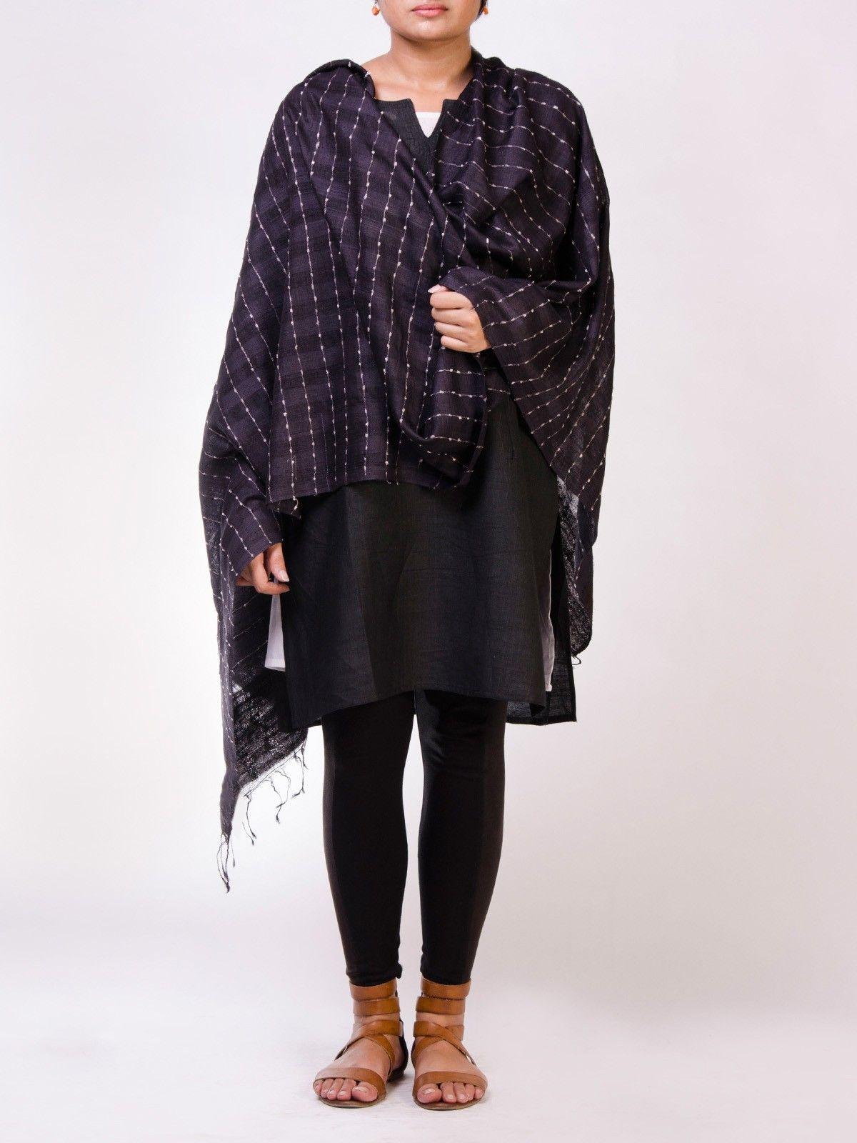 Black Tusser Silk Dupatta