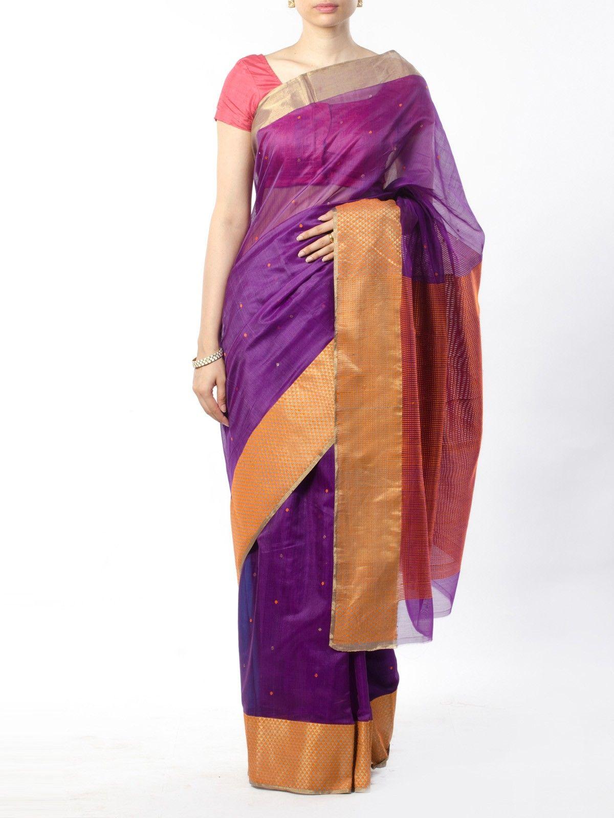 Purple Chanderi Saree with Zari Border