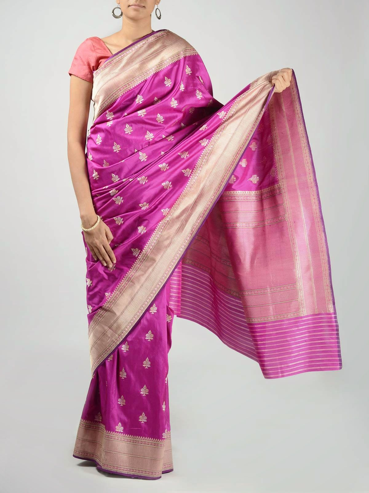 Purple Banarasi Saree with Zari Work