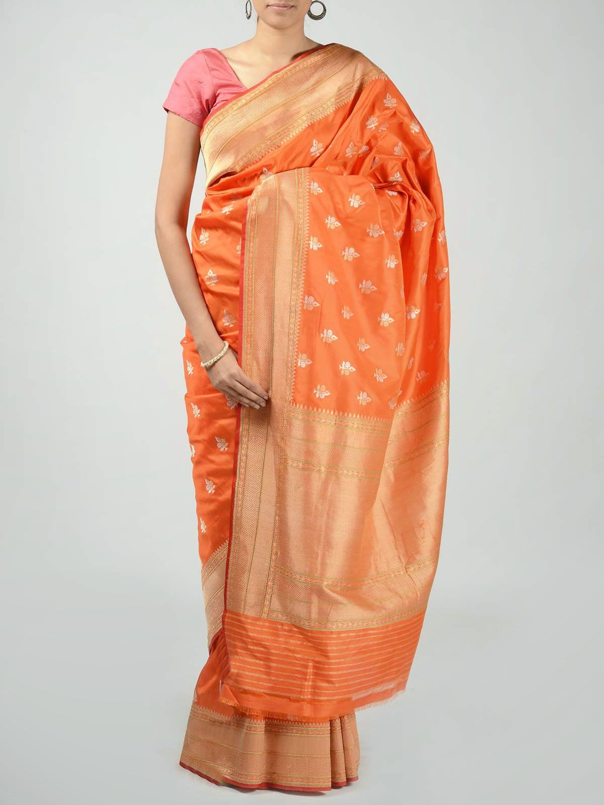 Orange Banarasi Saree with Zari Work