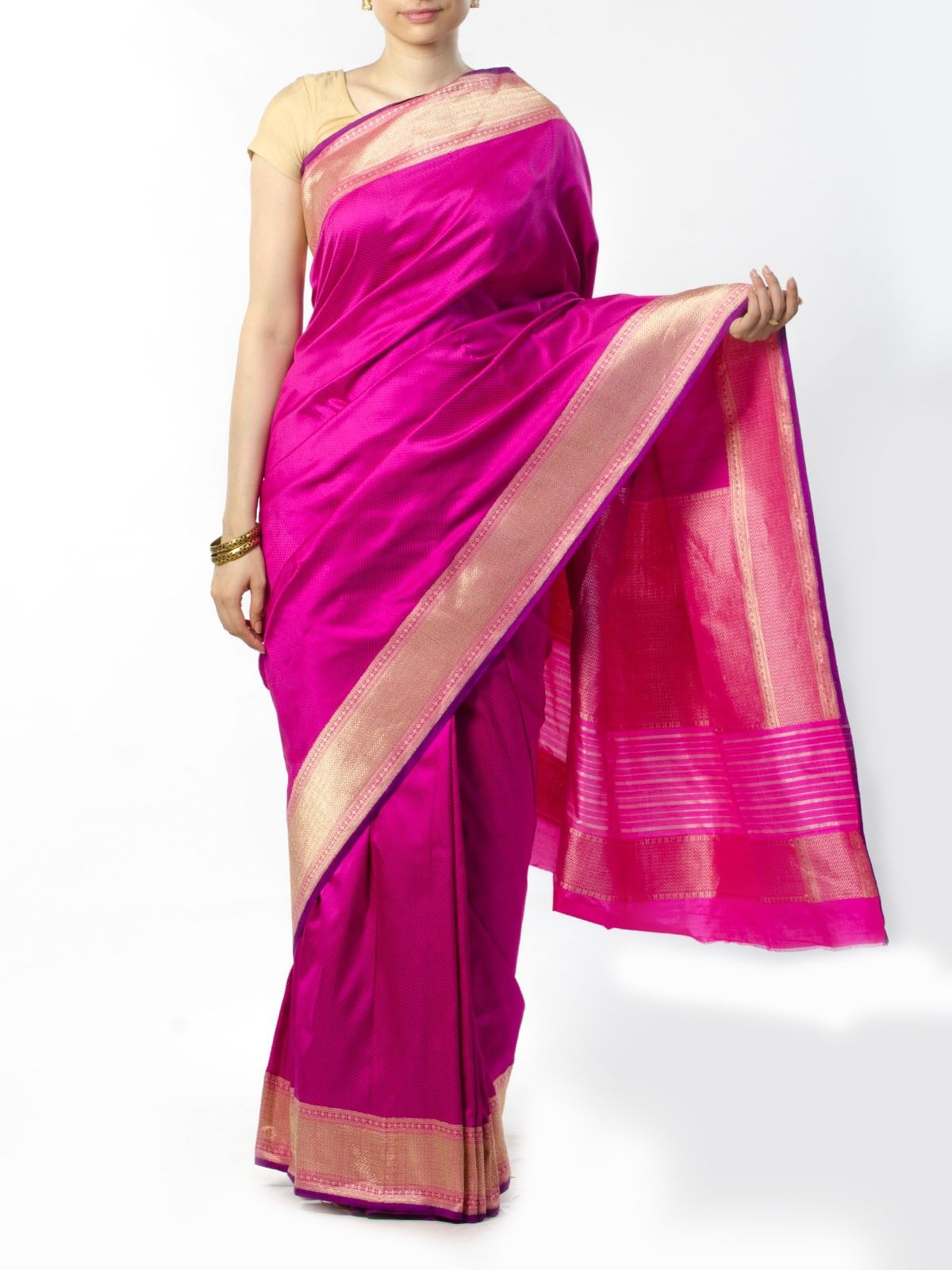 Magenta Banarasi Saree with Zari Border