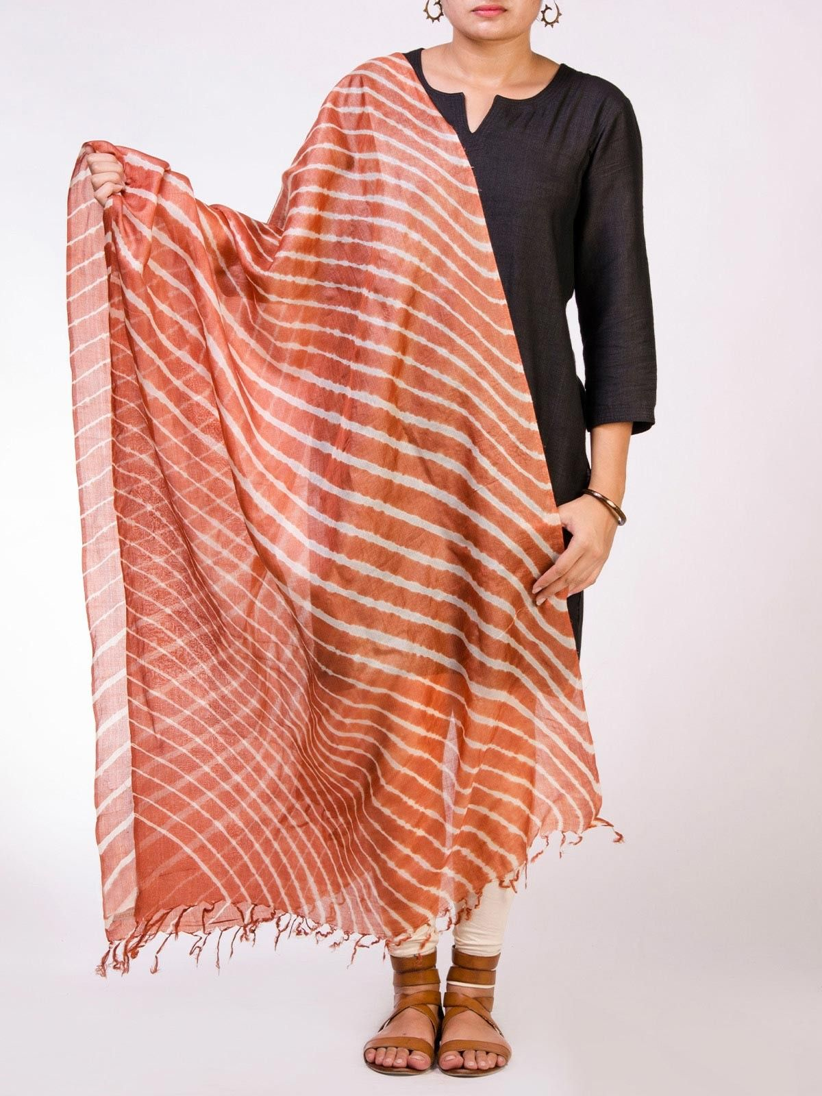 Orange Tussar Silk Lehriya Dupatta