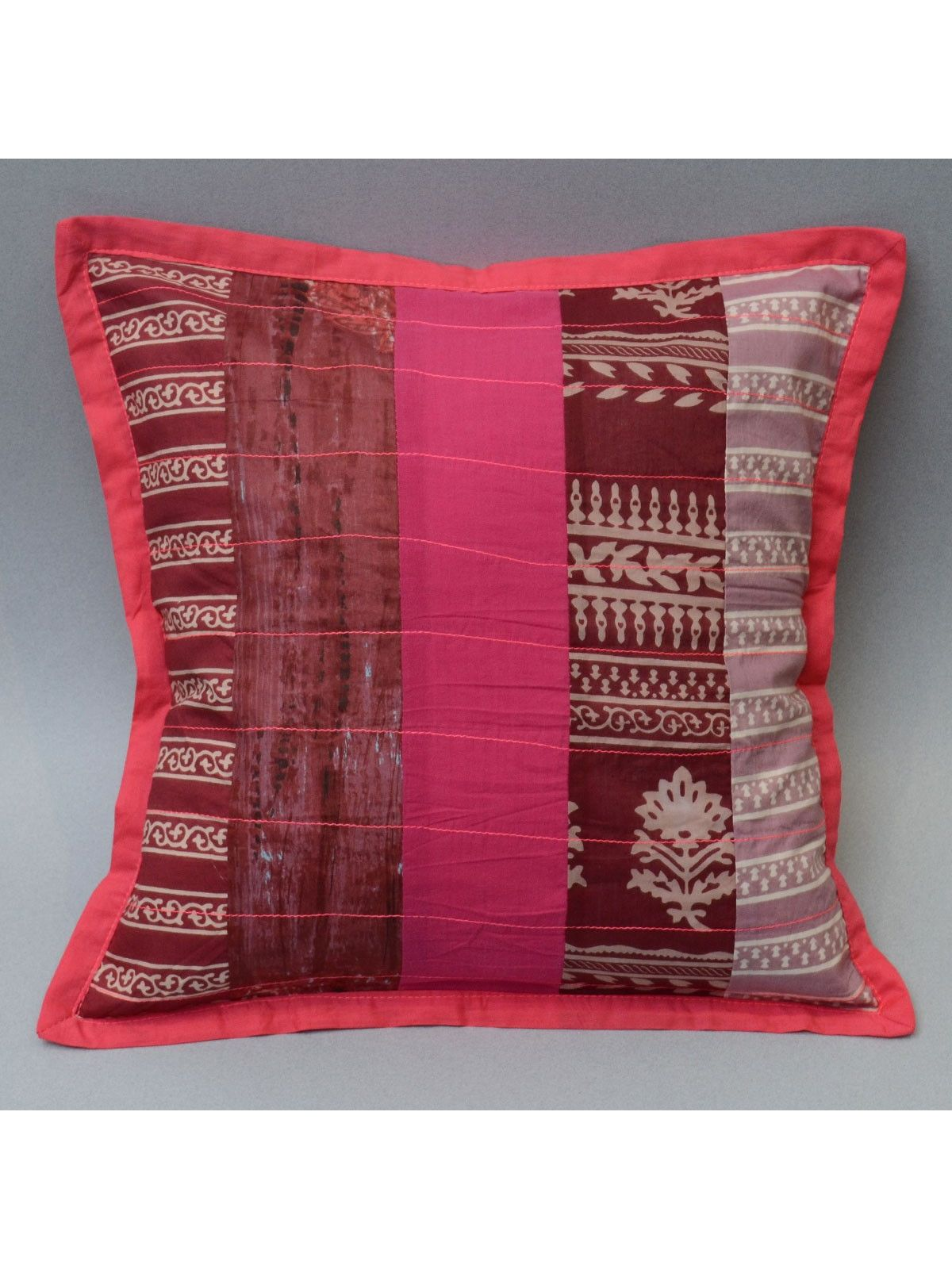 Cotton Patch Work Cushion Cover, Pink Color - 16 x 16 Inch