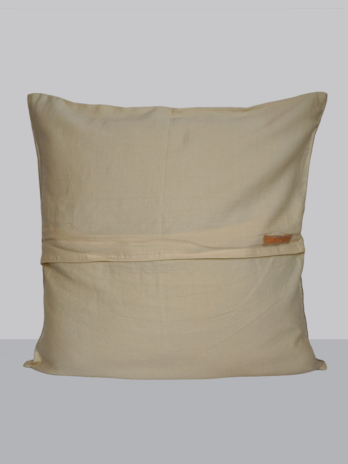 Cream linen zari embroidered floral pattern cushion cover