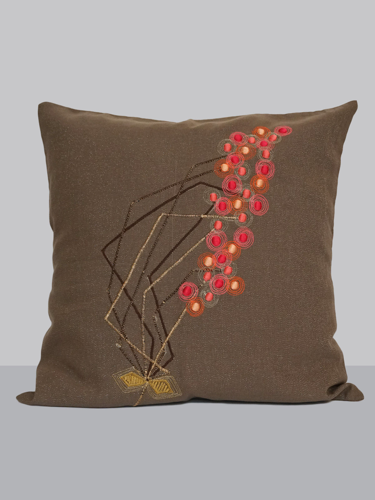 Grey cotton embroided floral pattern linen cushion cover