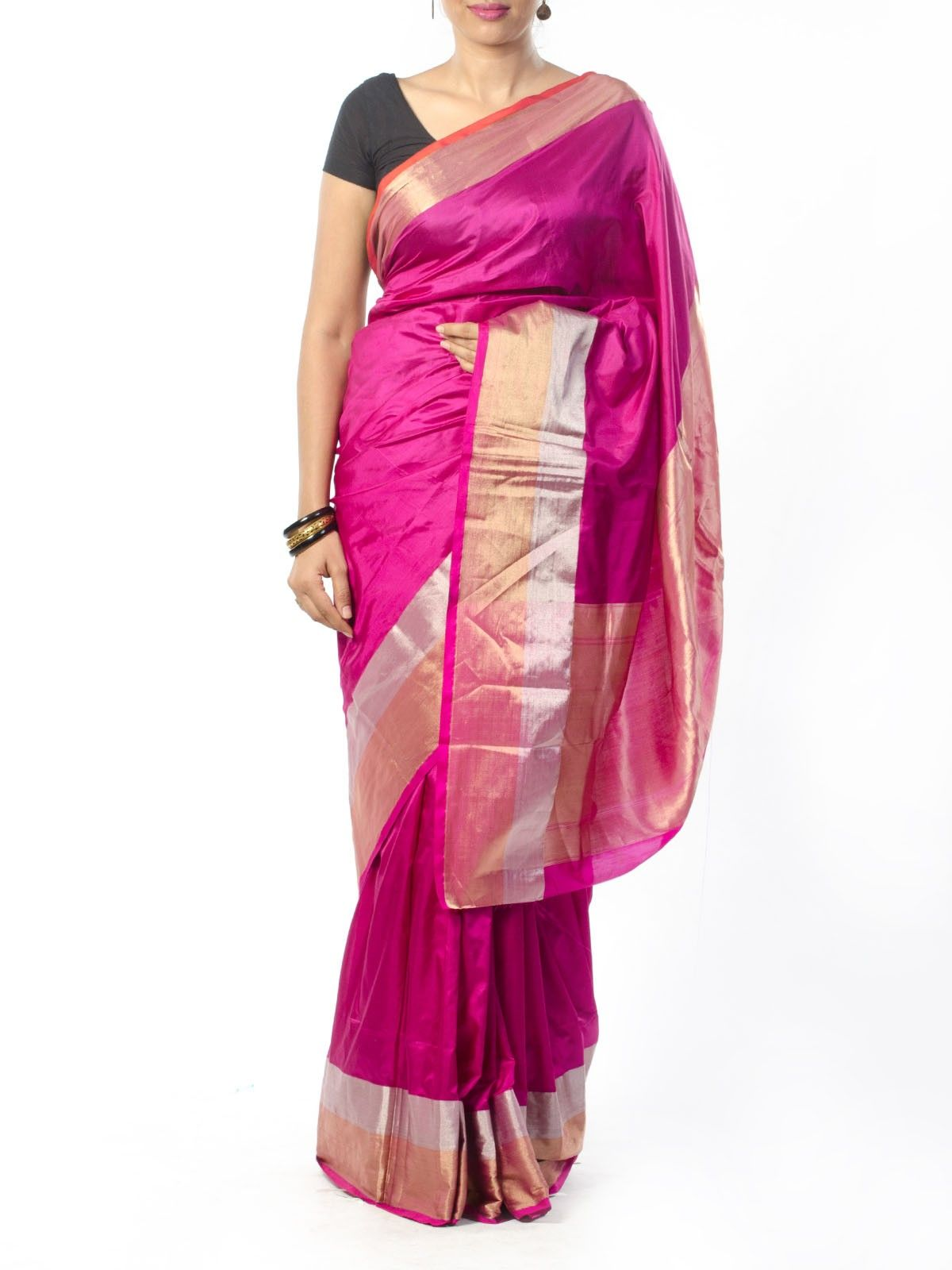 Pink Silk Saree with Zari Border