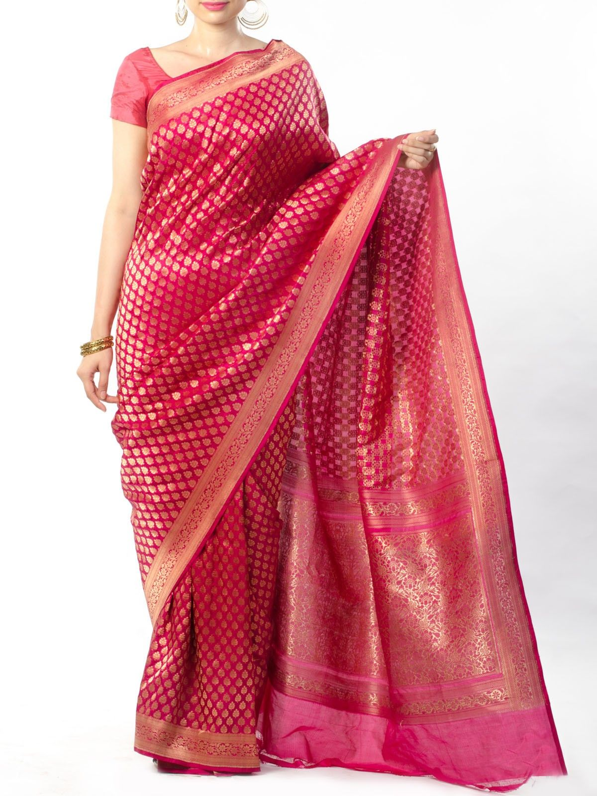 Magenta Banarasi Saree with Zari Work