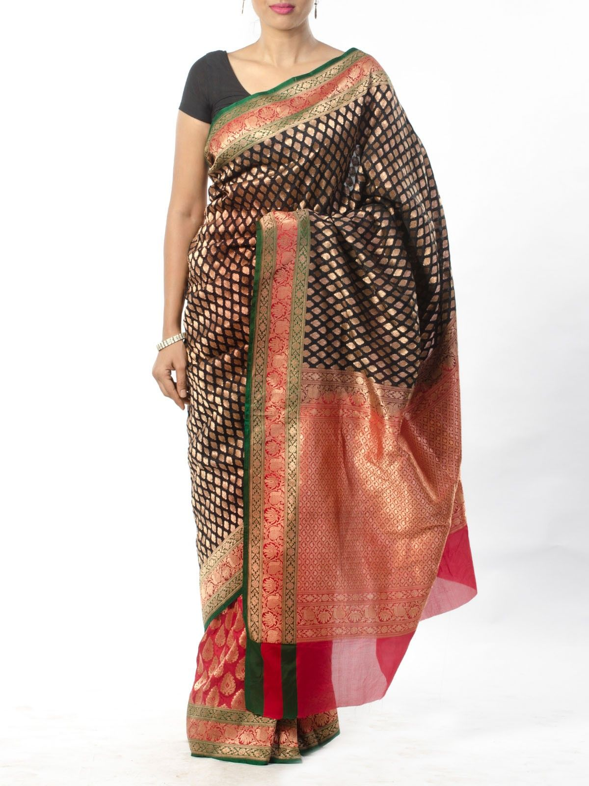 Black Red Banarsi Saree with Zari border