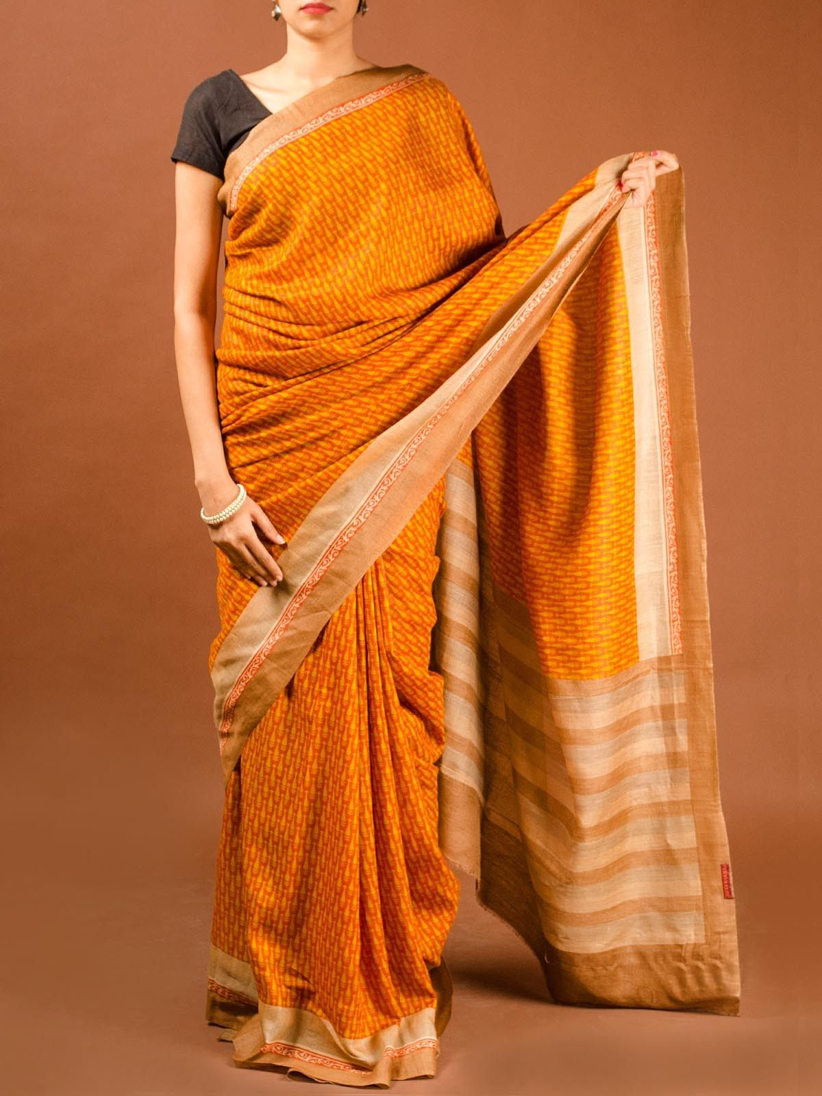 Orange Muga Silk Saree