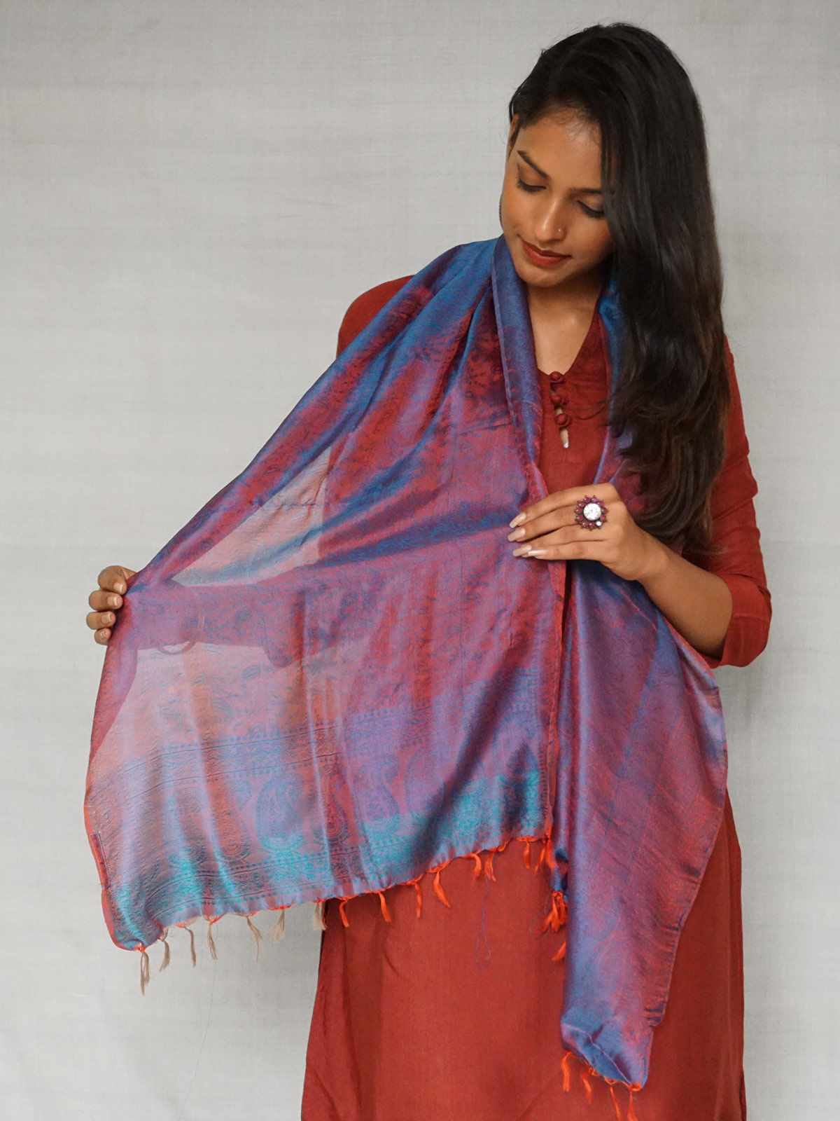 Blue and Maroon Banarasi Silk Stole