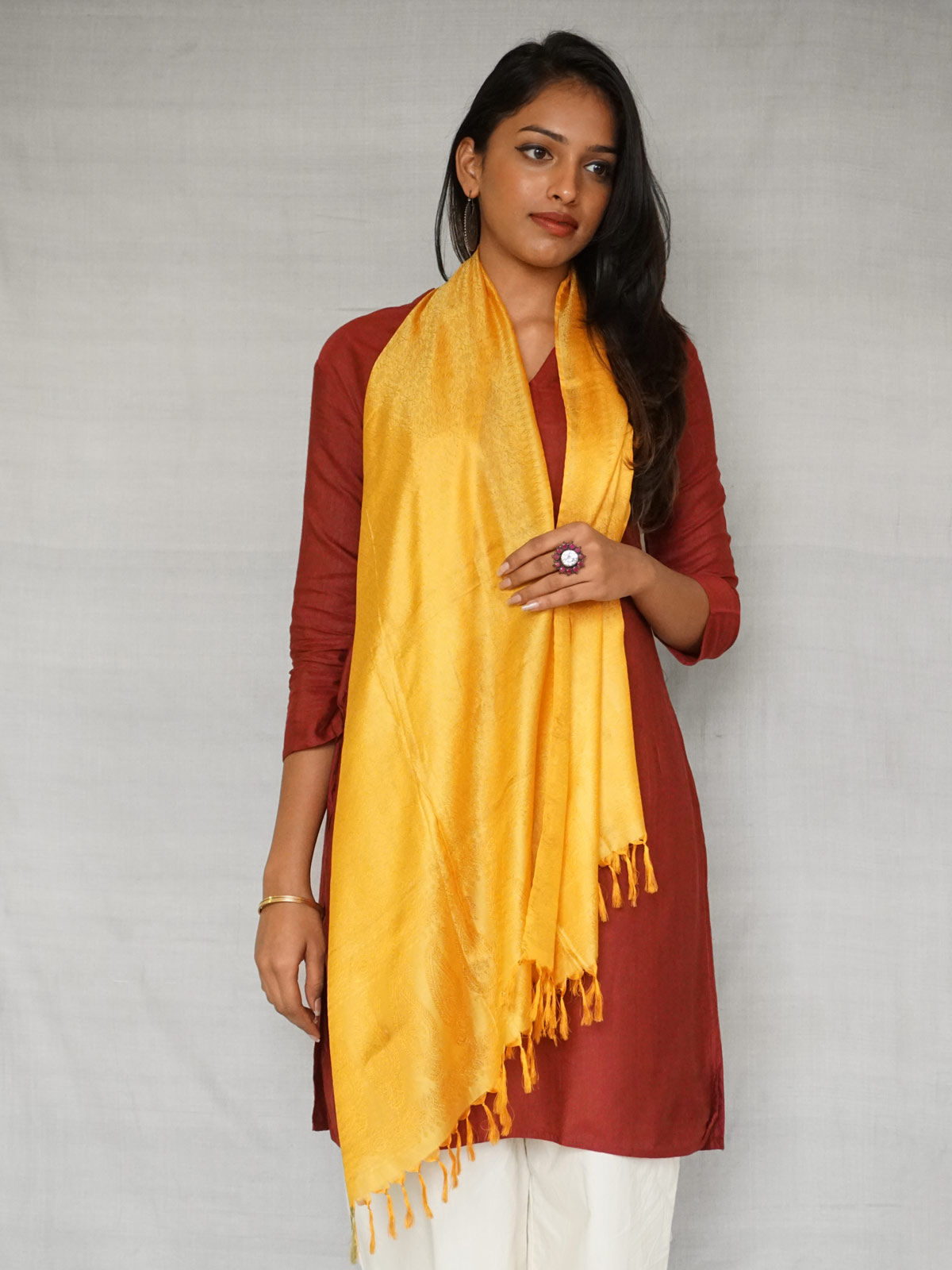 Yellow Banarasi Silk Stole