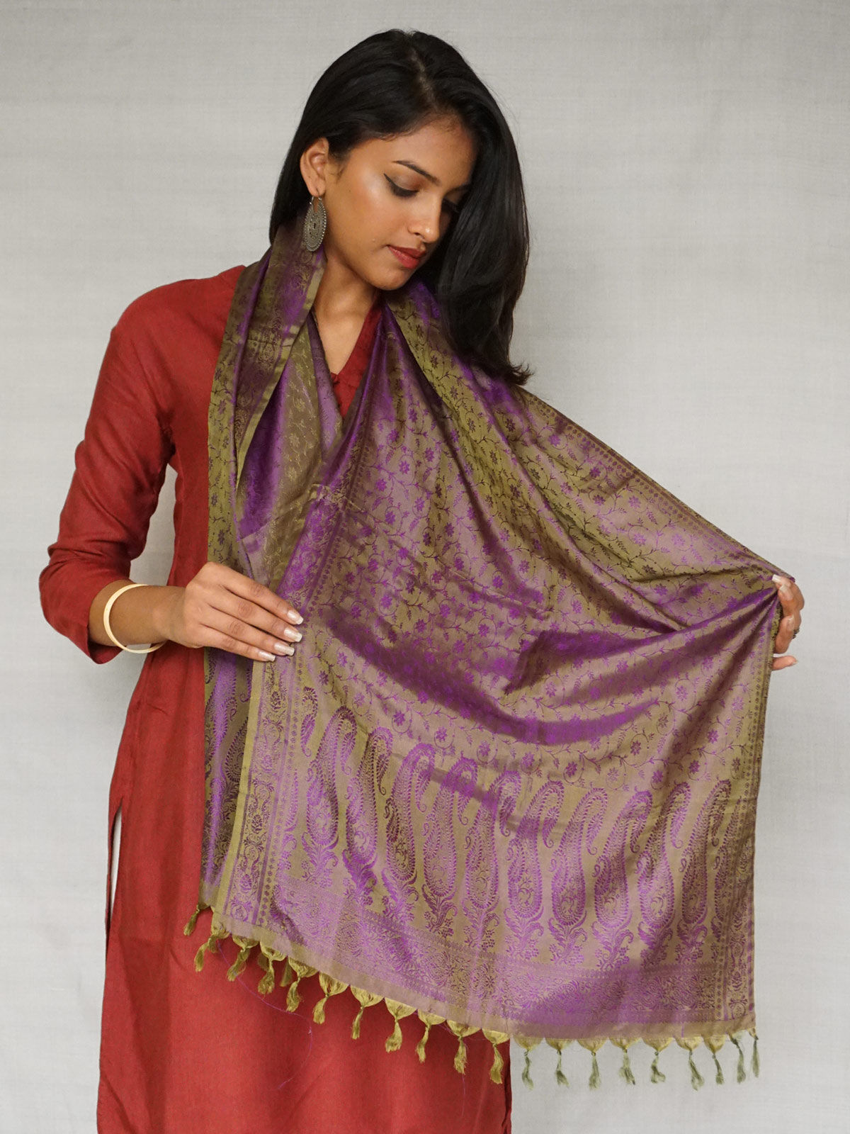 Purple and Green Banarasi Silk Stole