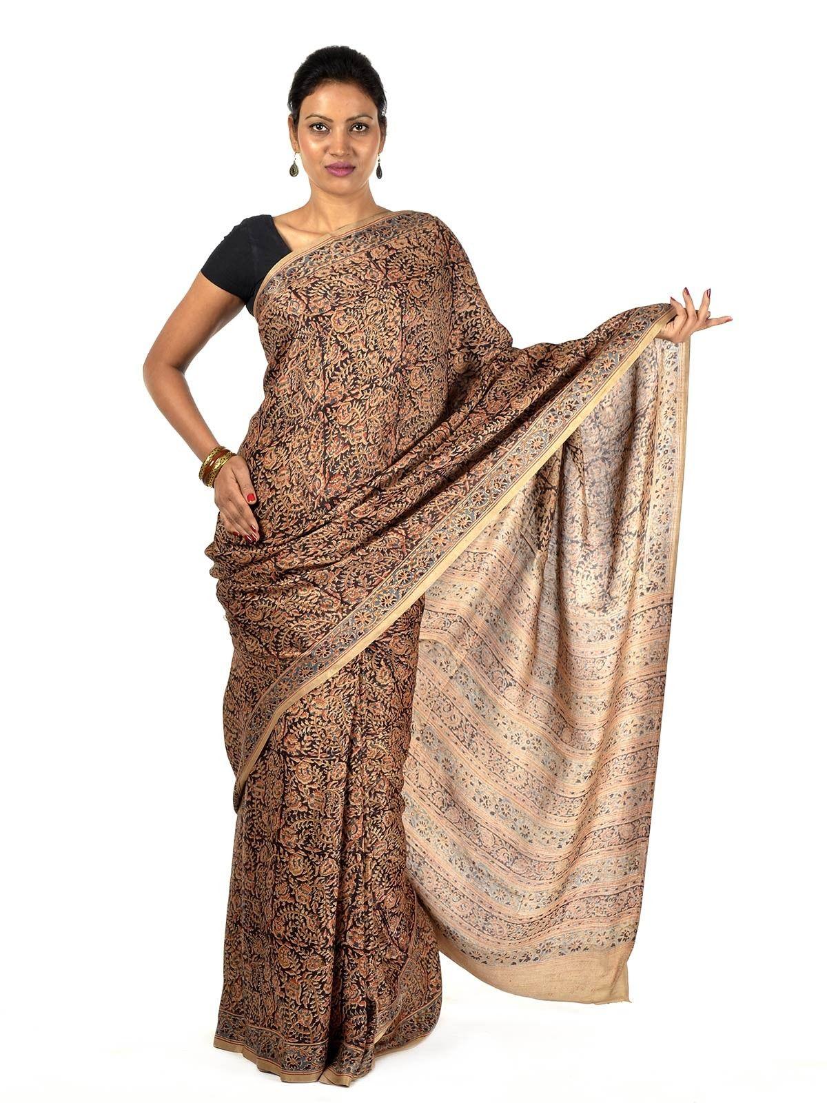 Saddle brown silk Kalamkari saree