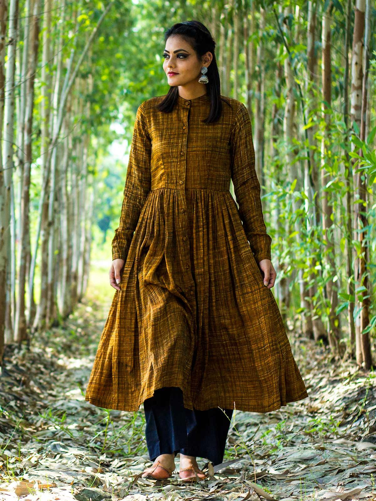 Mustard yellow modal silk pleated dress