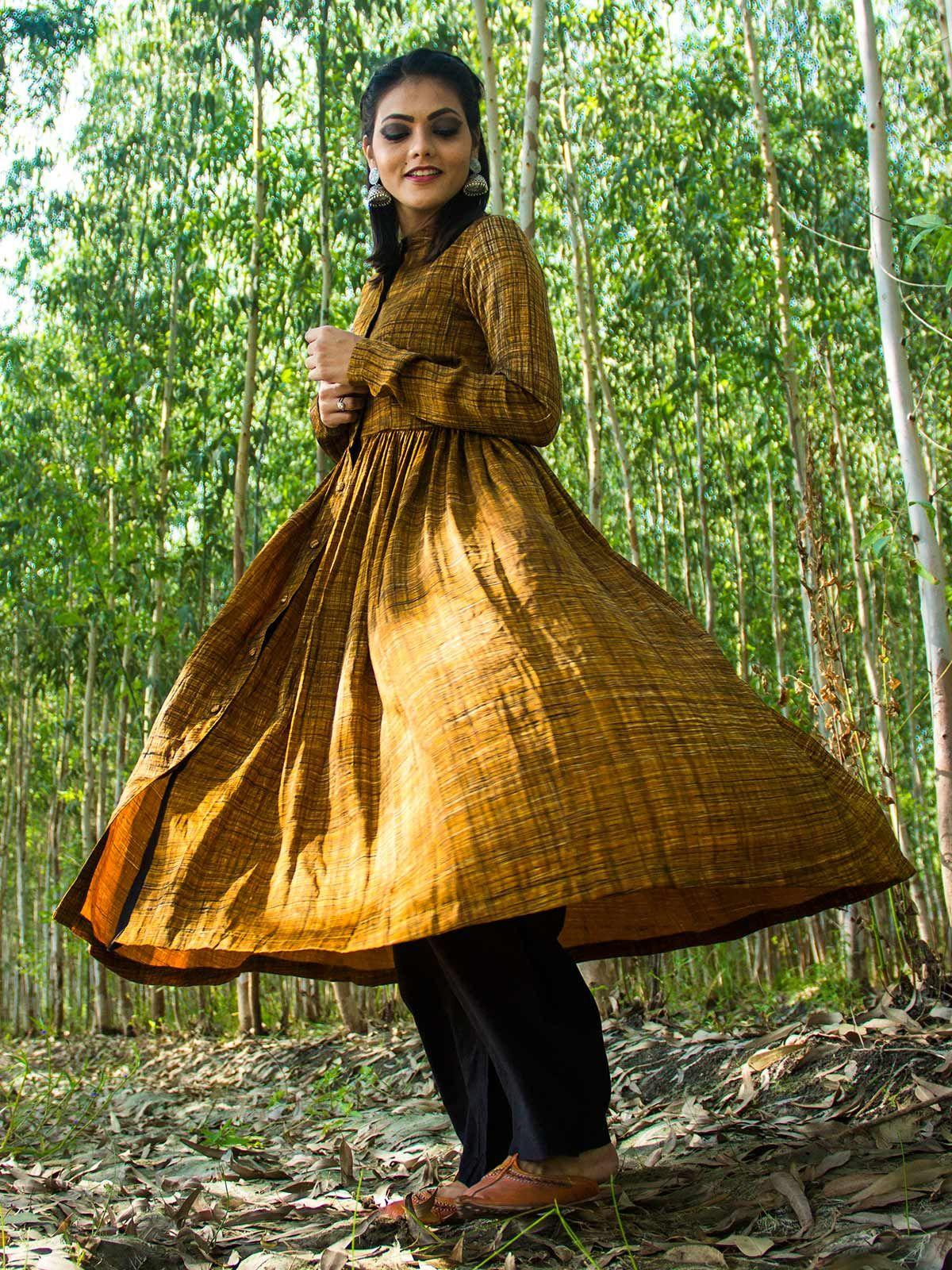 Mustard yellow modal silk pleated dress