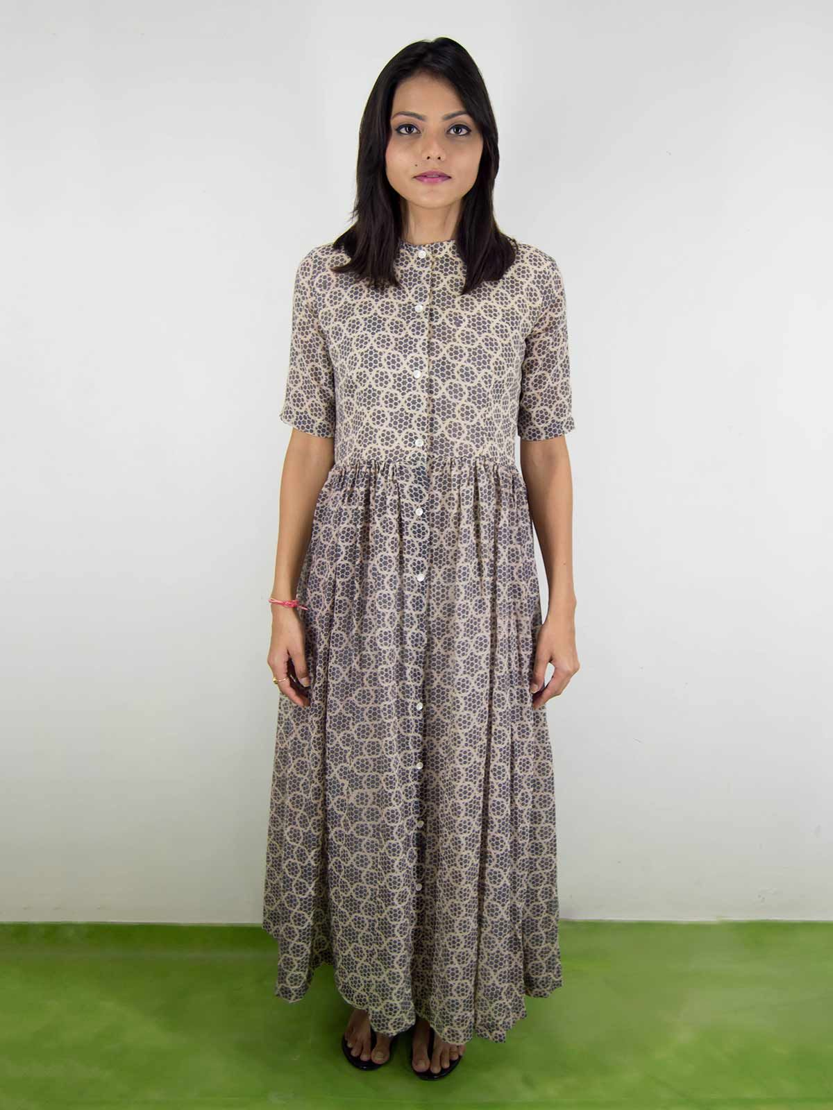 Grey mul mul block-printed dress