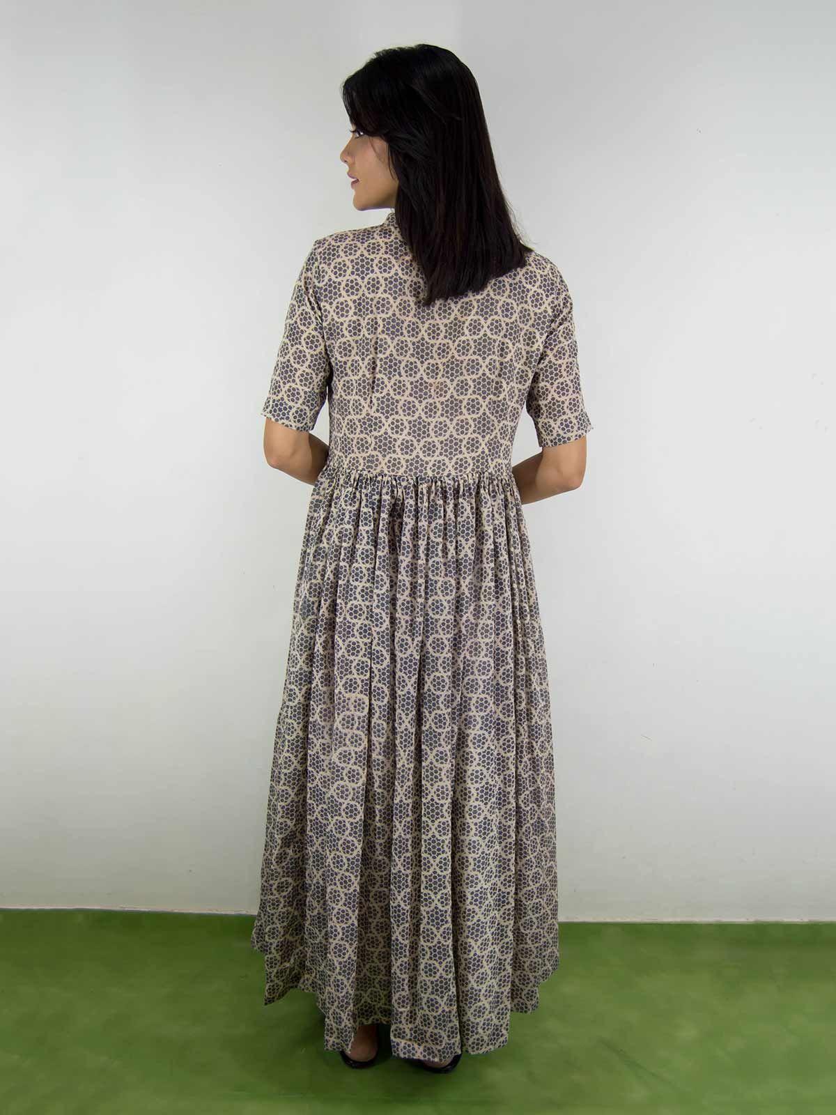 Grey mul mul block-printed dress