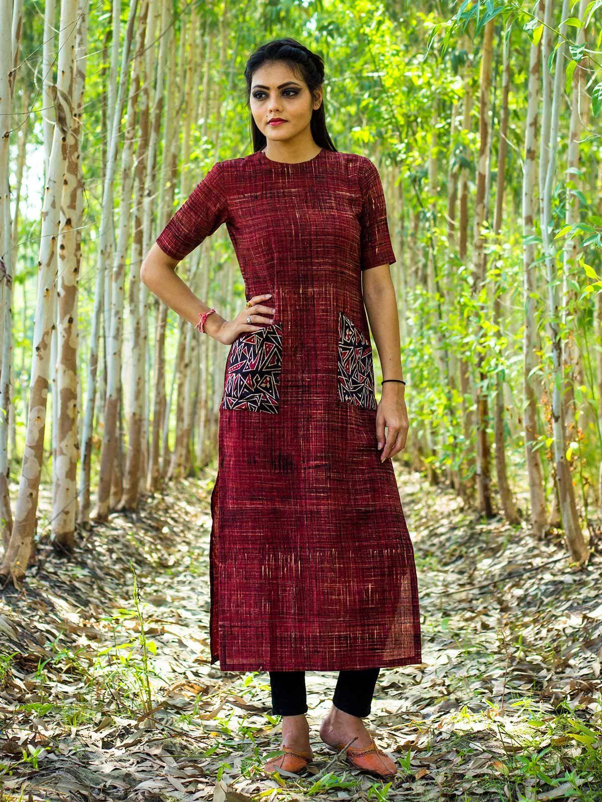 Brick red kurta with black mushru pockets