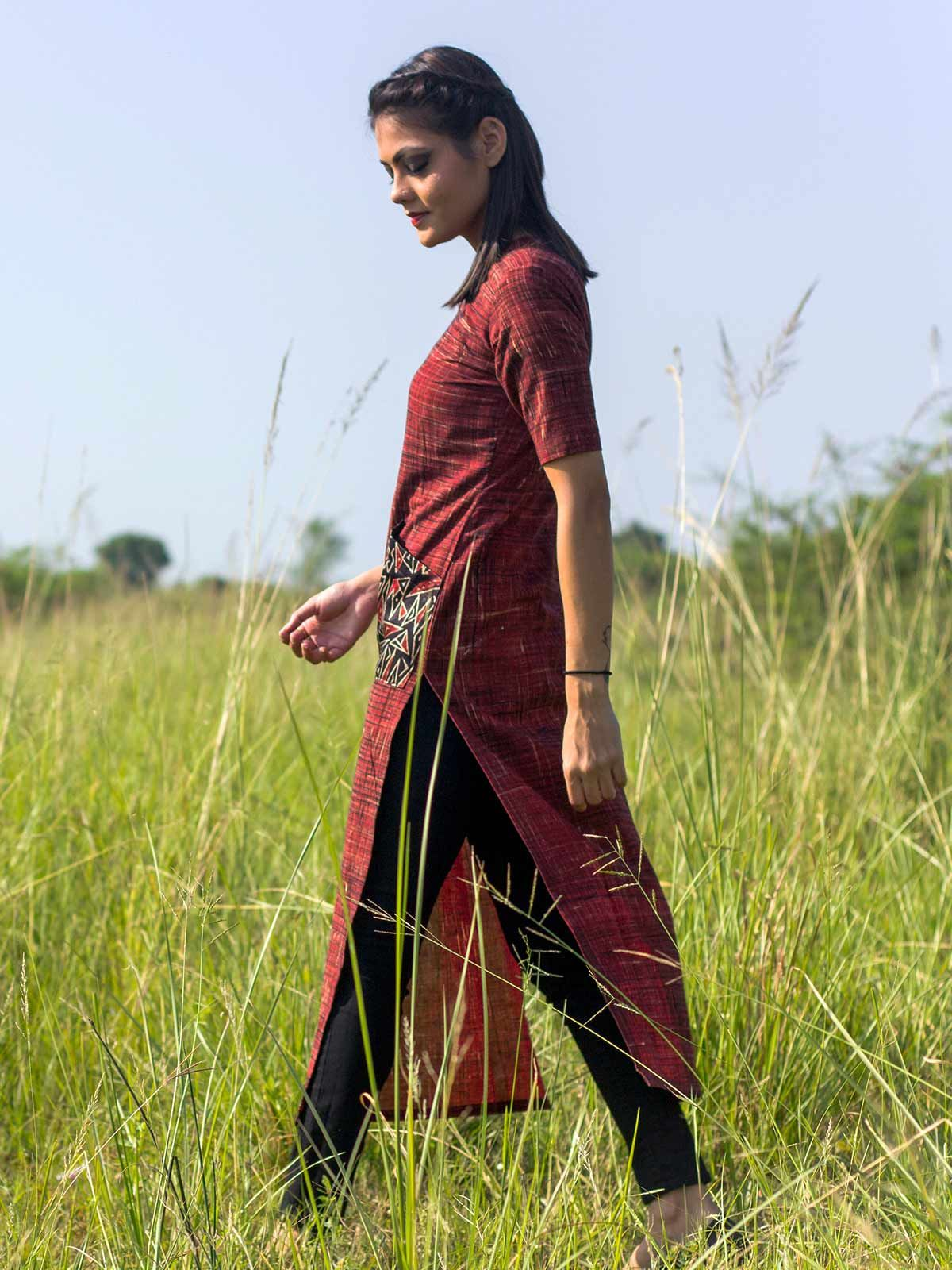 Brick red kurta with black mushru pockets