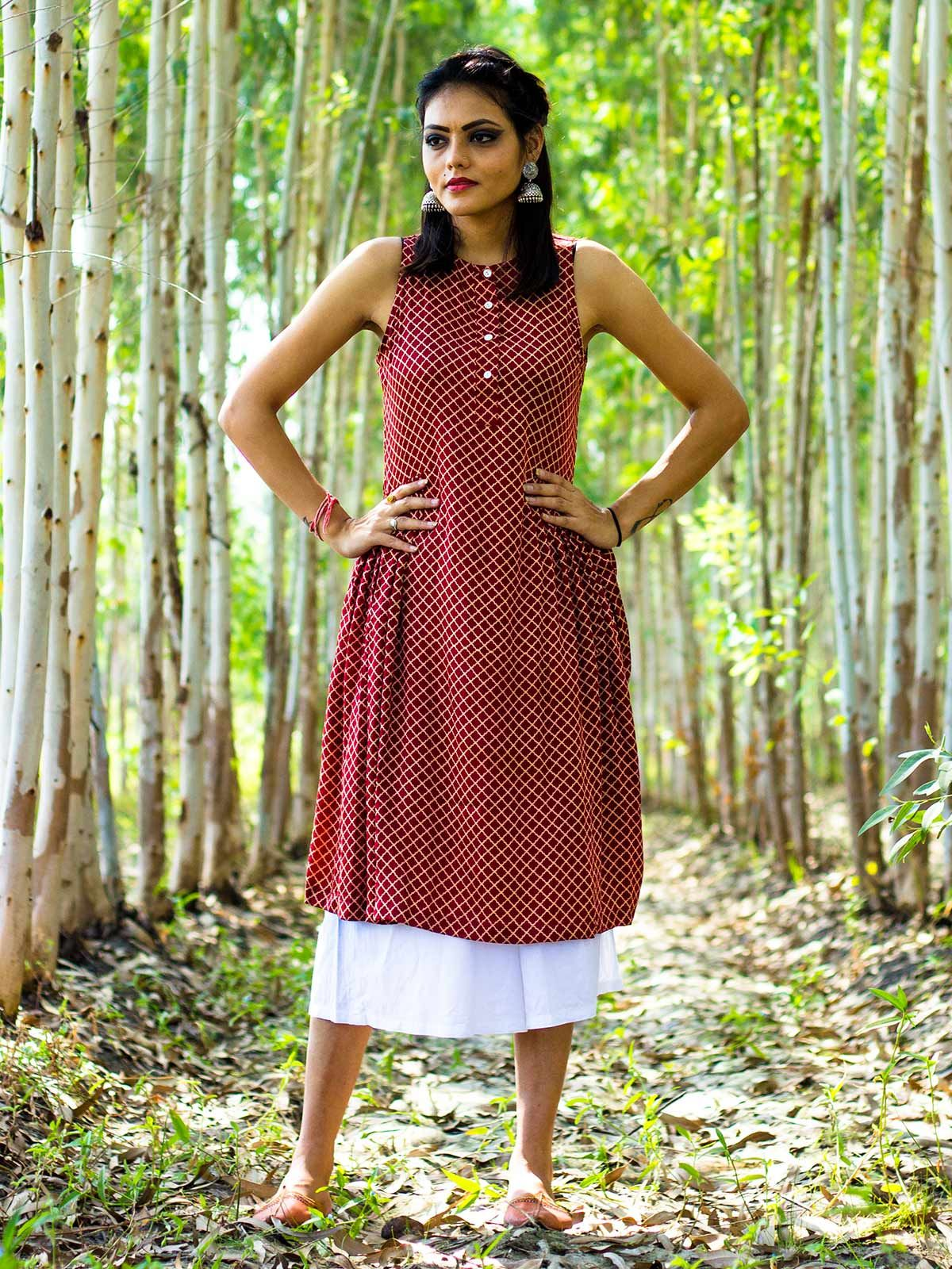 Red blockprinted modal silk tunic with white culottes