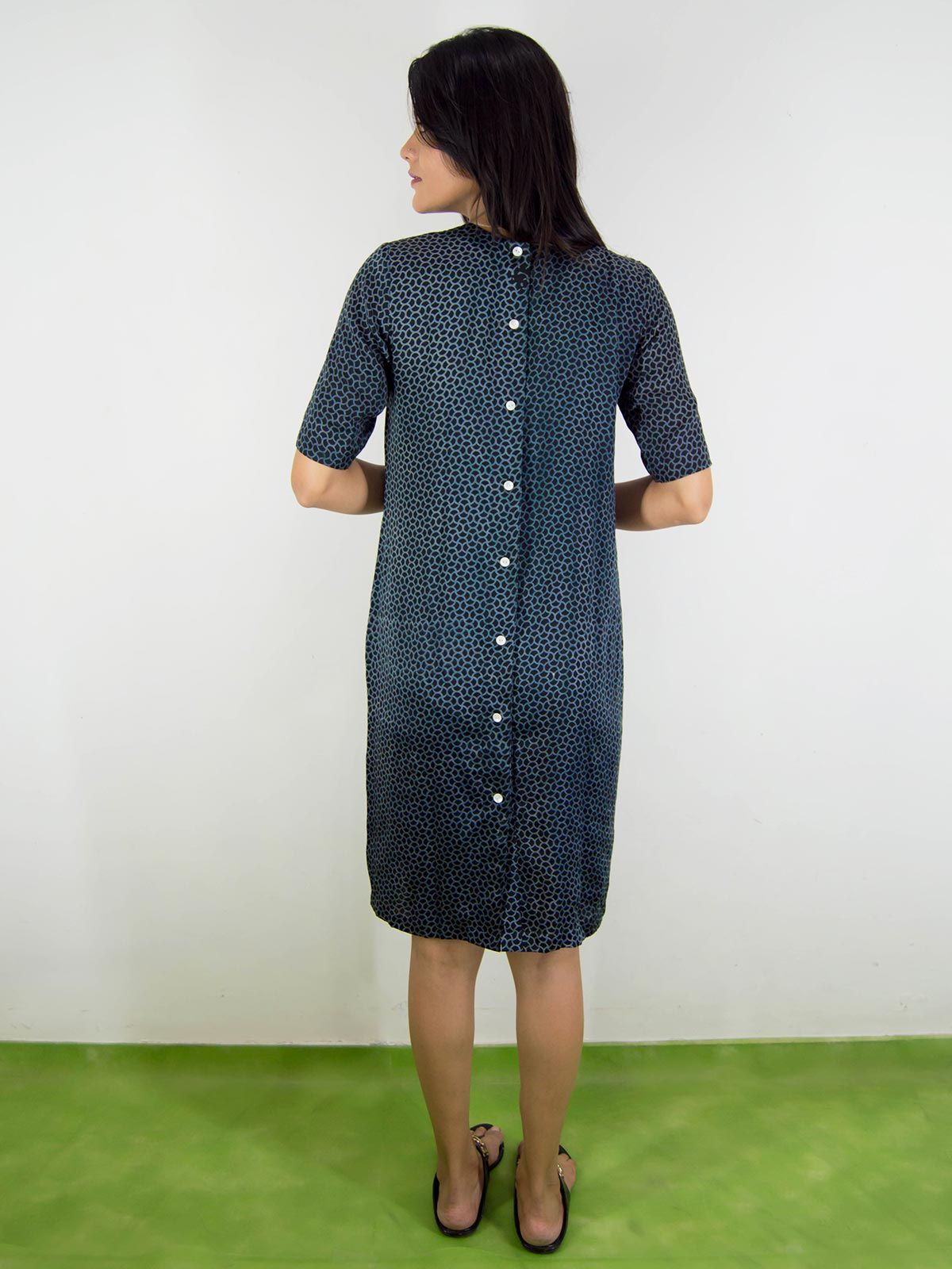 Black modal silk shift dress