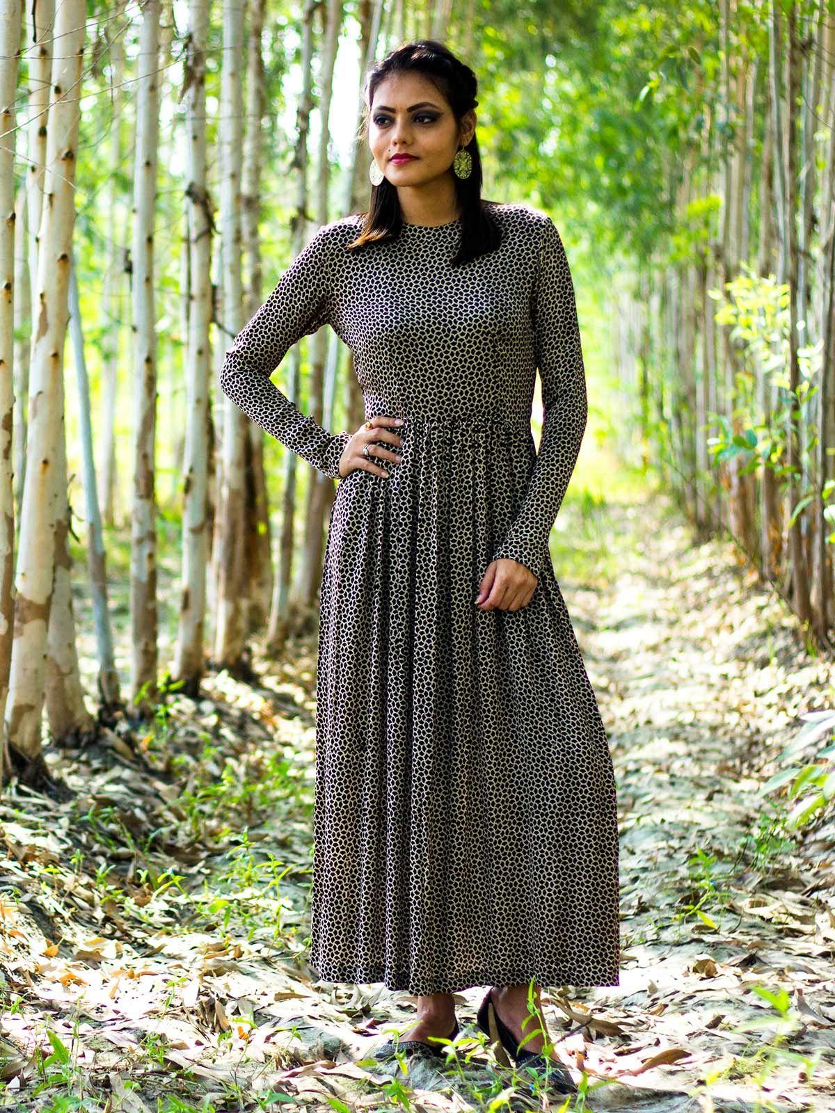 Black animal print modal silk pleated dress