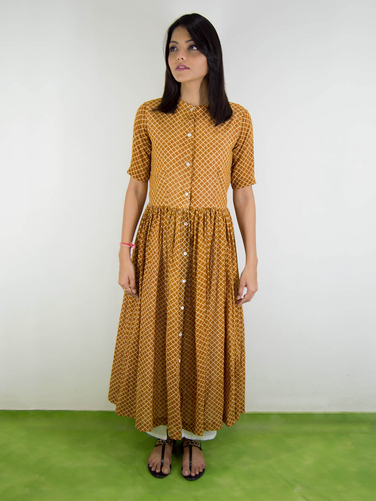 Mul mul  mustard yellow  pleated dress