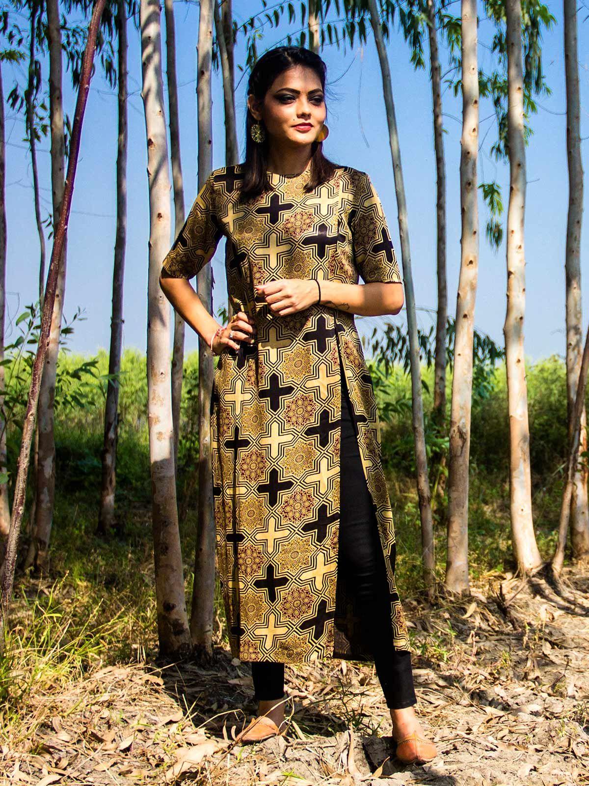 Ajrakh side slit Tunic in Mushru Silk
