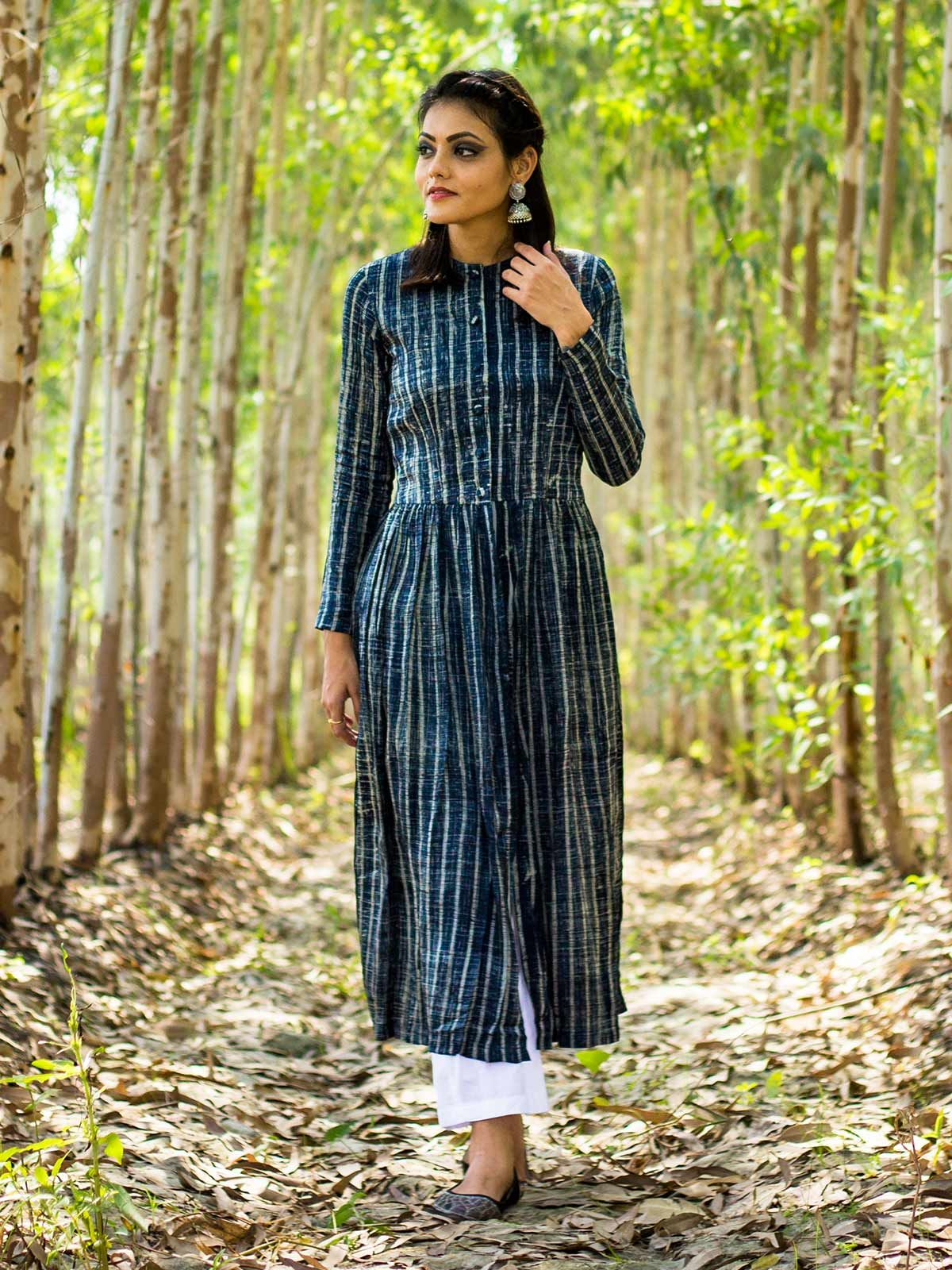 Brush handblock print front slit kurta in Modal silk