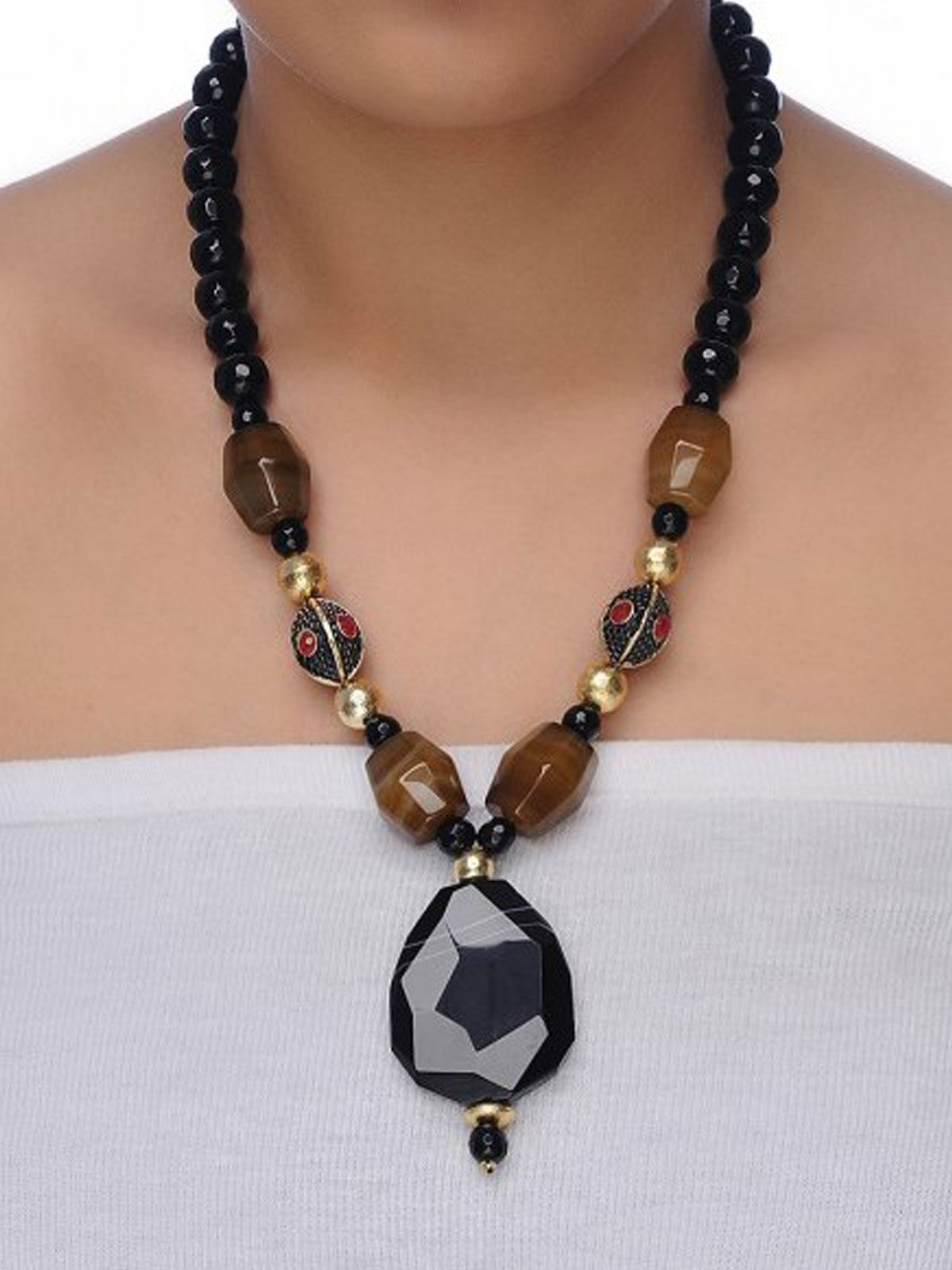 Aj Creations Black-brown onyx necklace