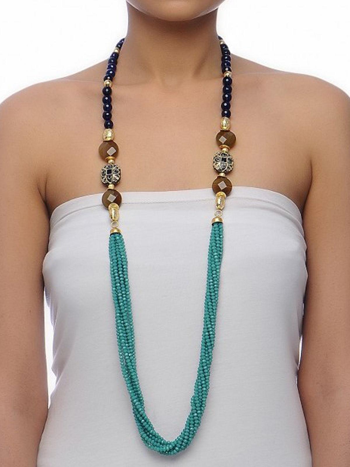 Aj Creations Indigo-turquoise necklace