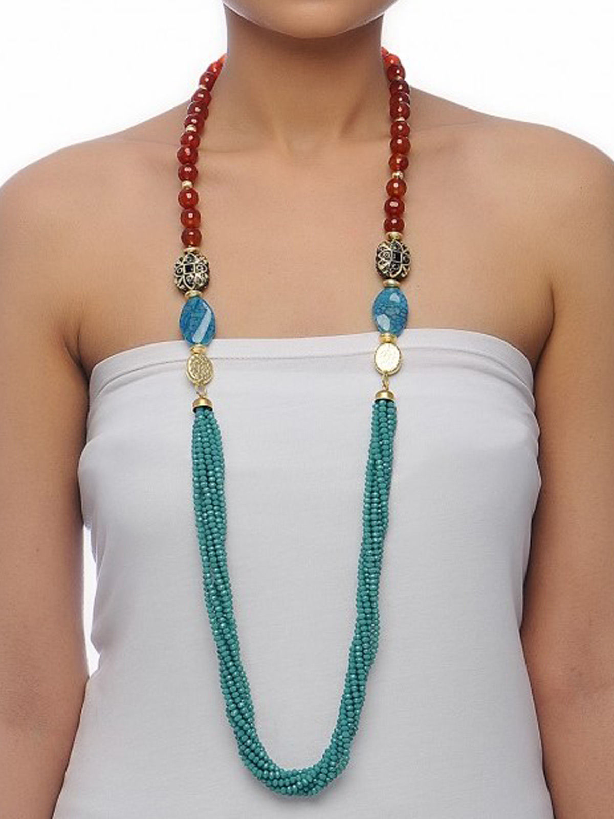 Aj Creations Rust-turquoise necklace