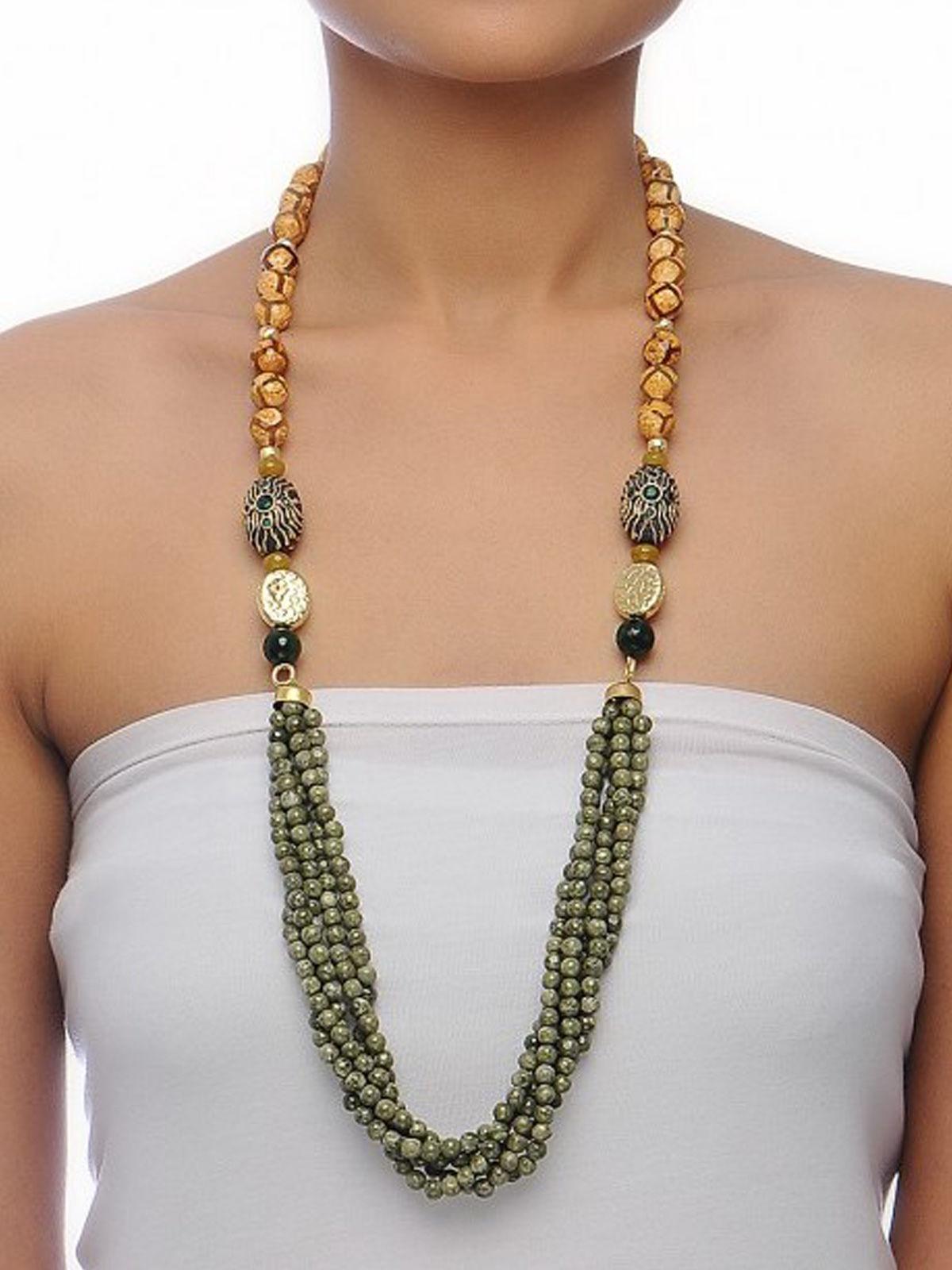 Aj Creations Green jasper - rough agate necklace