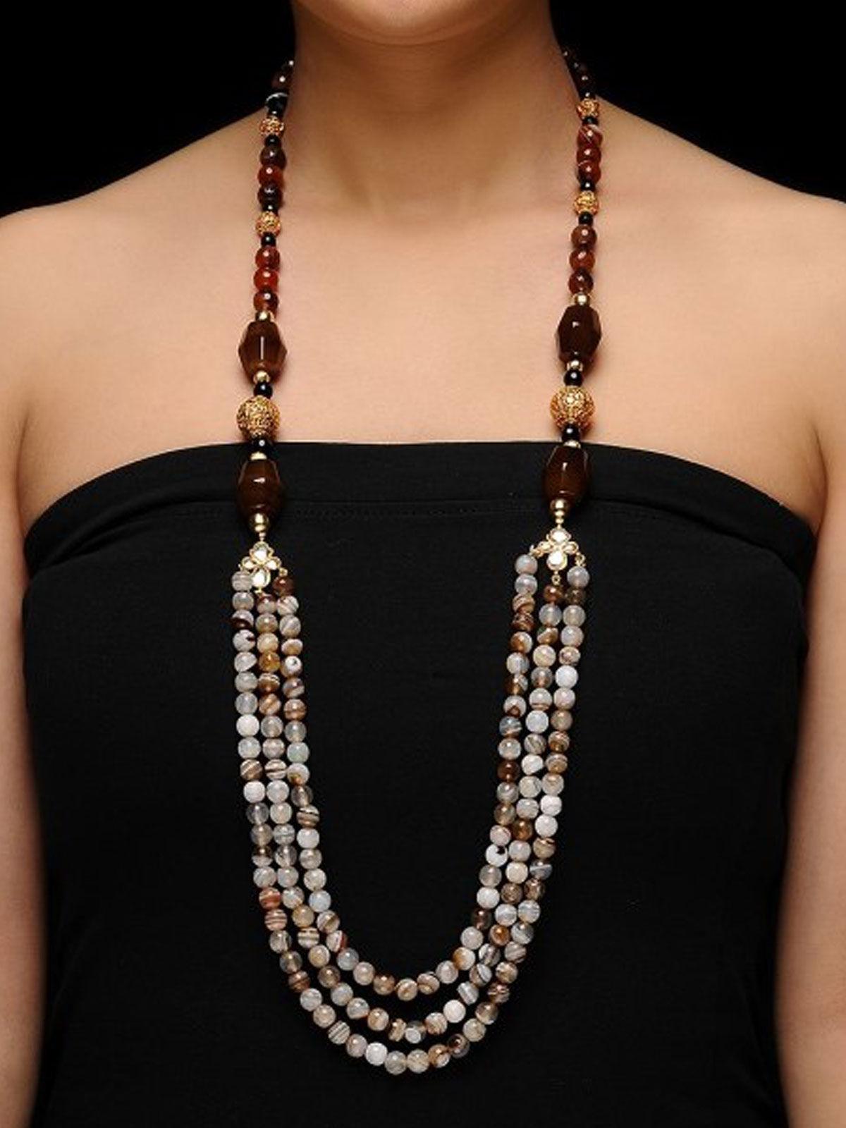 Aj Creations Ecru-brown necklace