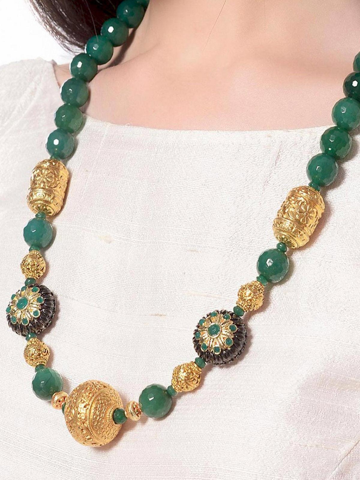 Aj Creations Green-golden necklace