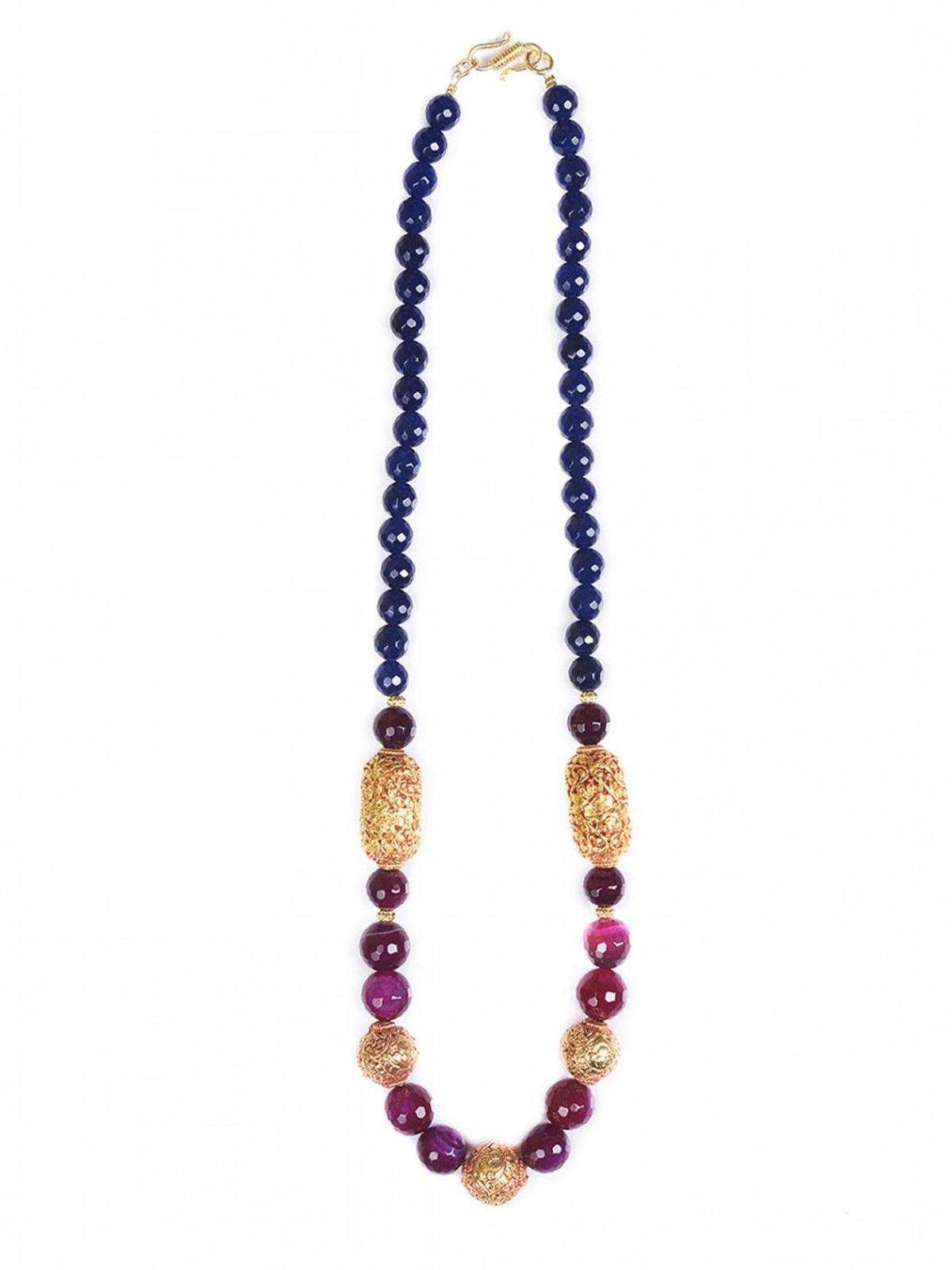 Aj Creations Burgandy-indigo necklace