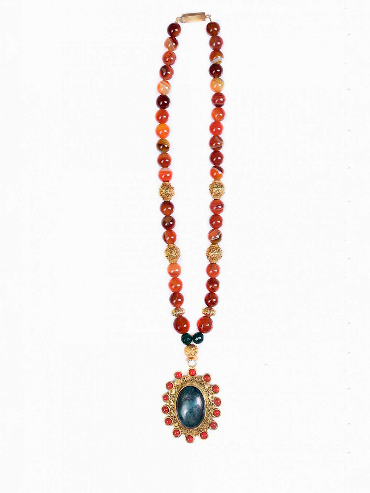 Aj Creations Malachite-coral agate beaded necklace