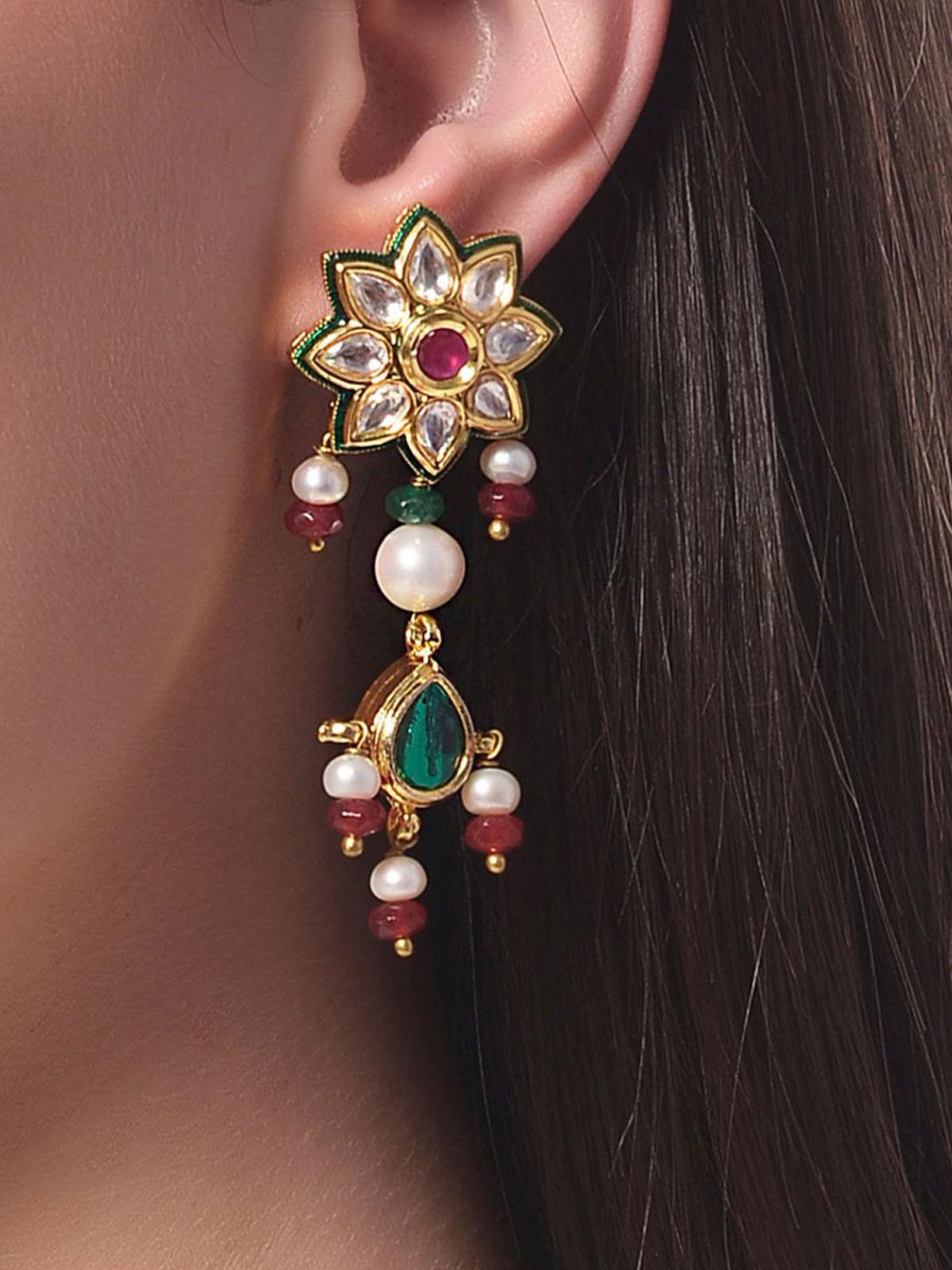 Aj Creations Multi-colour kundan earrings