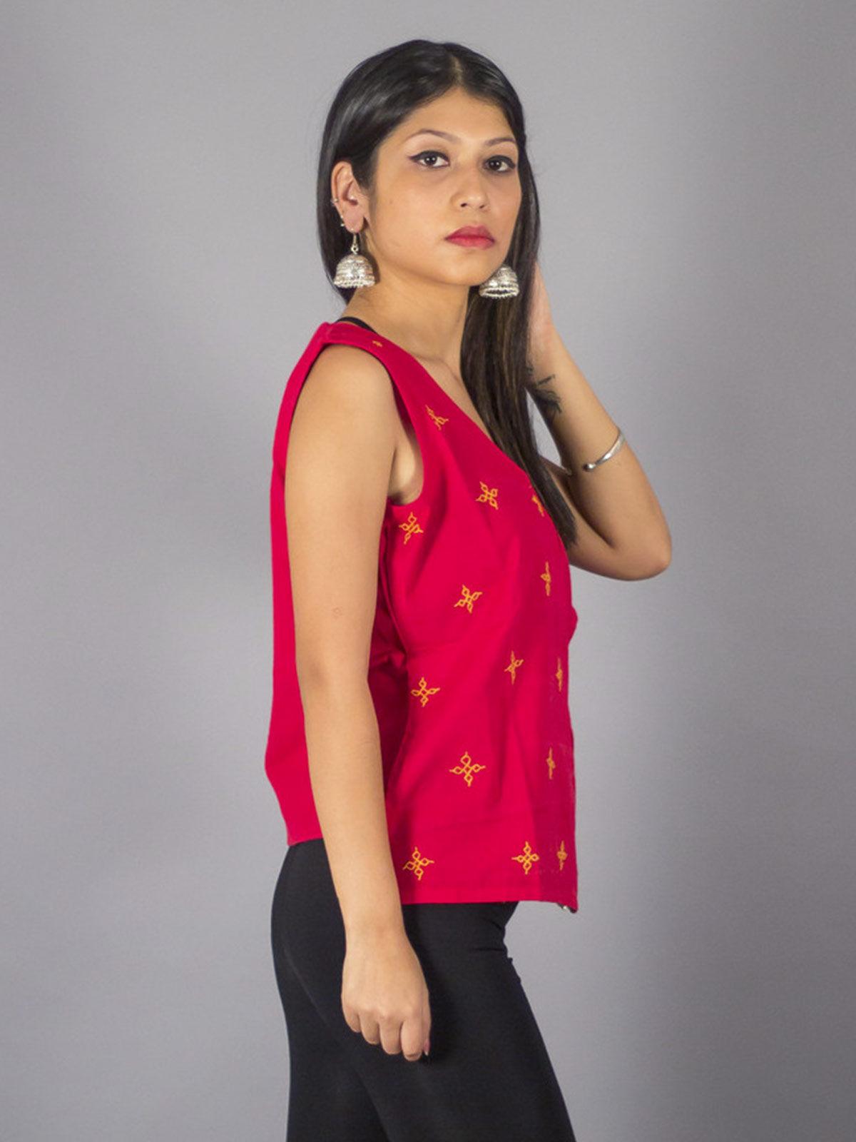Cotton Breeze Red Angarkha