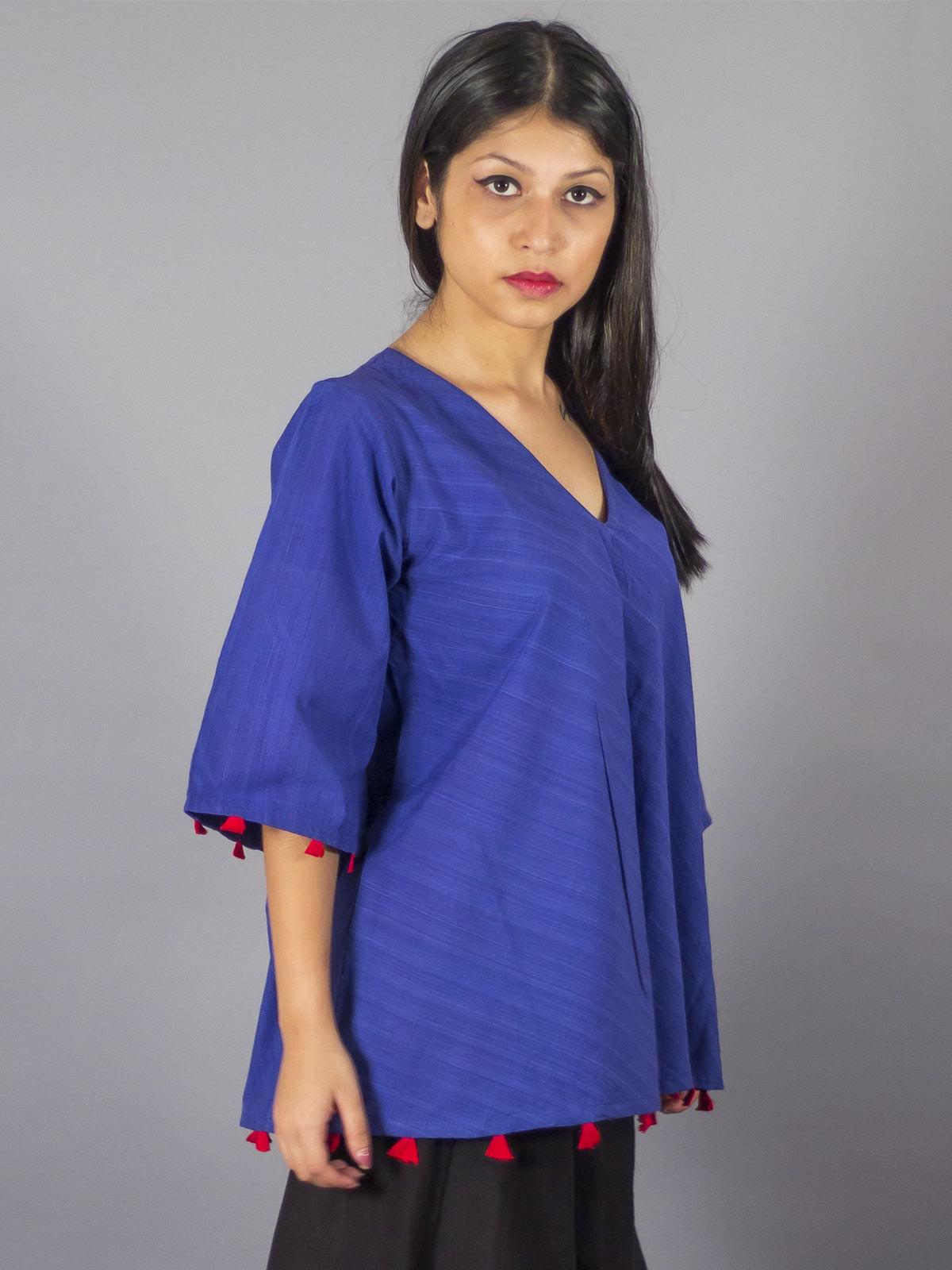 Sufi Blue Cotton Top