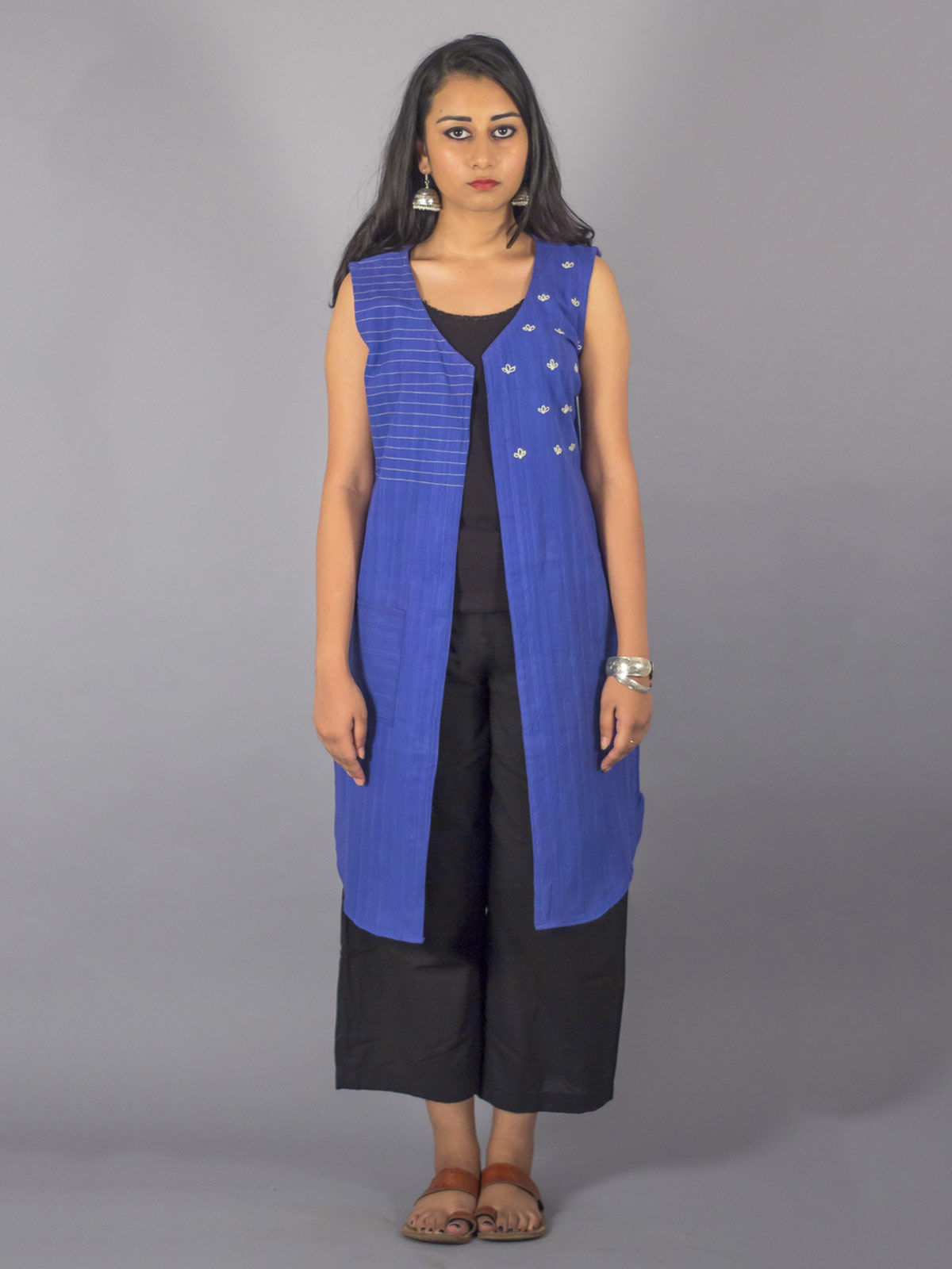 Blue Embroidered Long Shrug