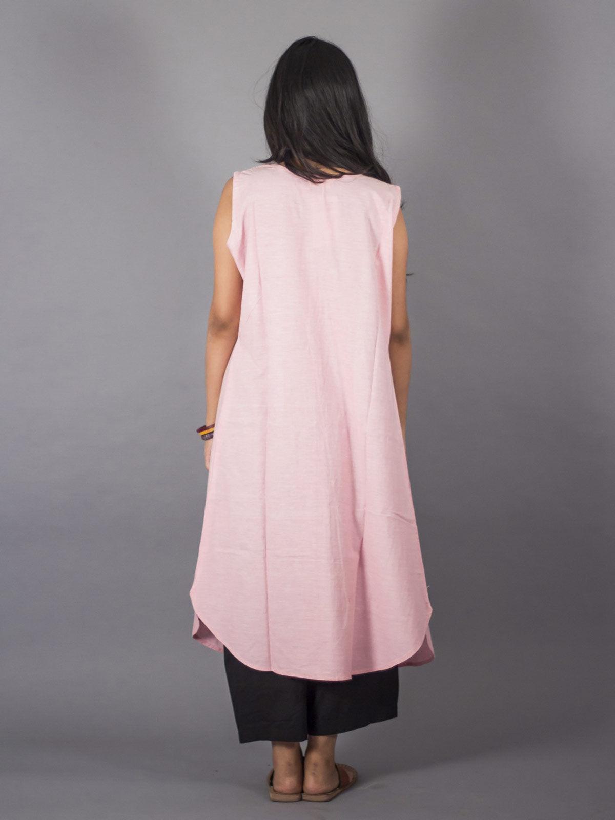 PinkEmbroidered Long Shrug