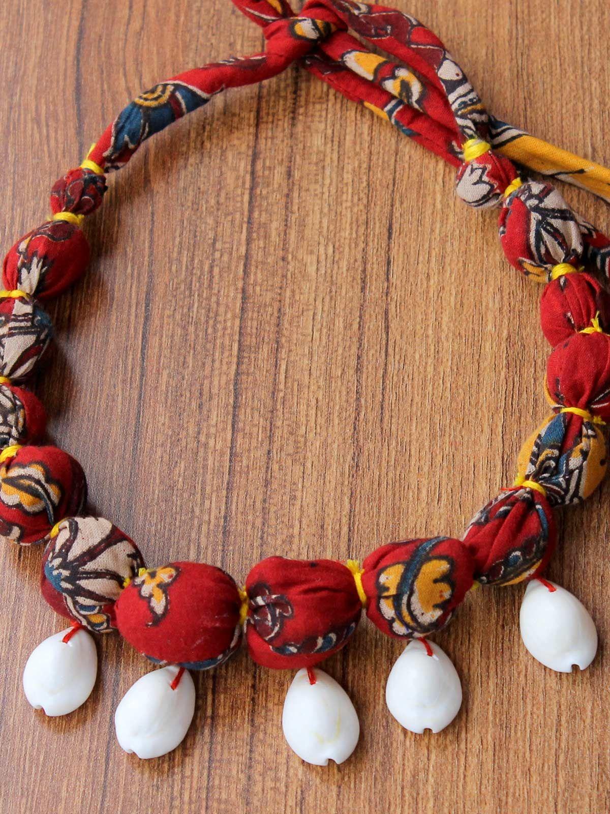 Shell Kalamkari red gulband