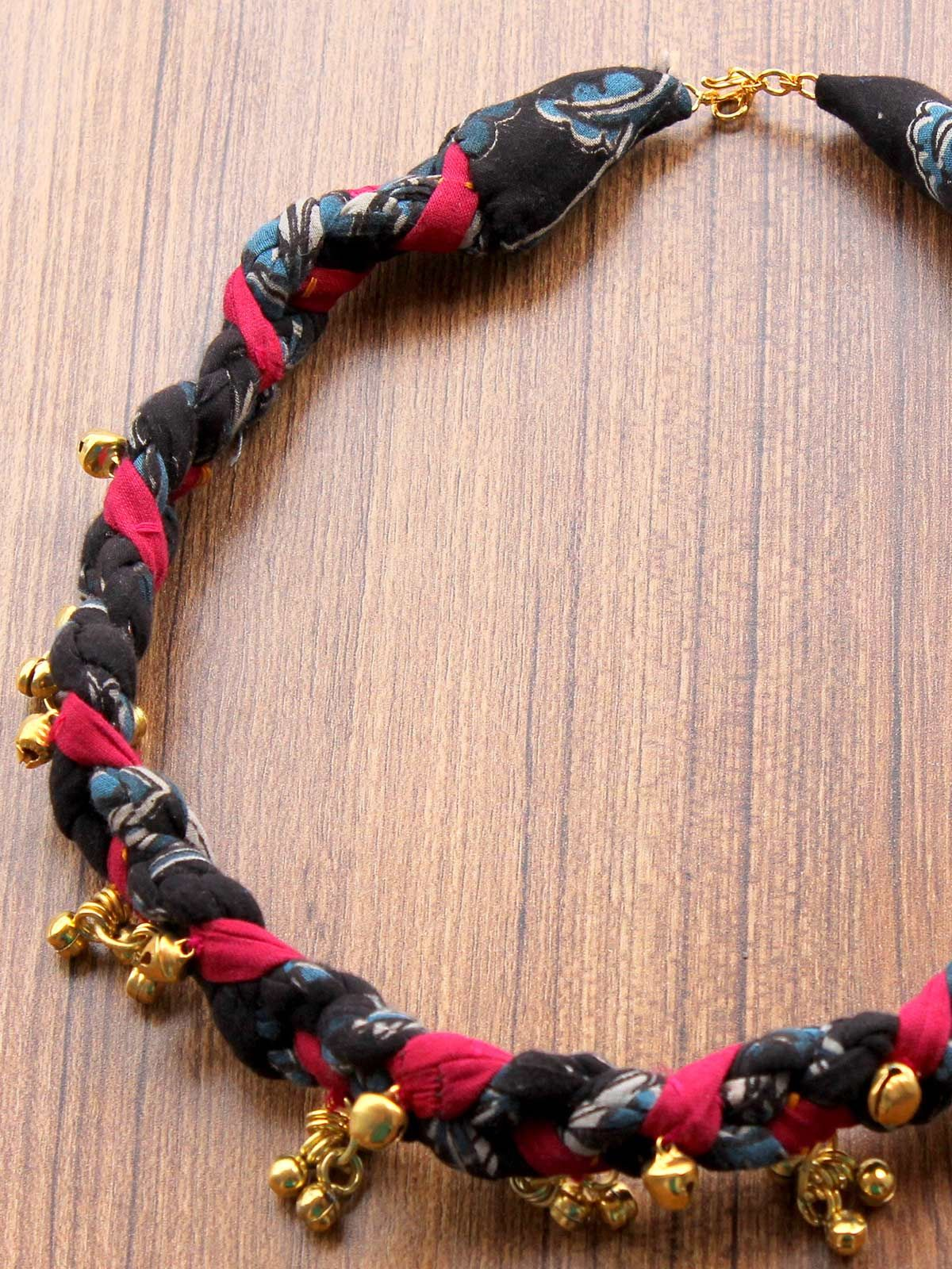 Jhanjhar Kalamkari Indigo Wave Necklace